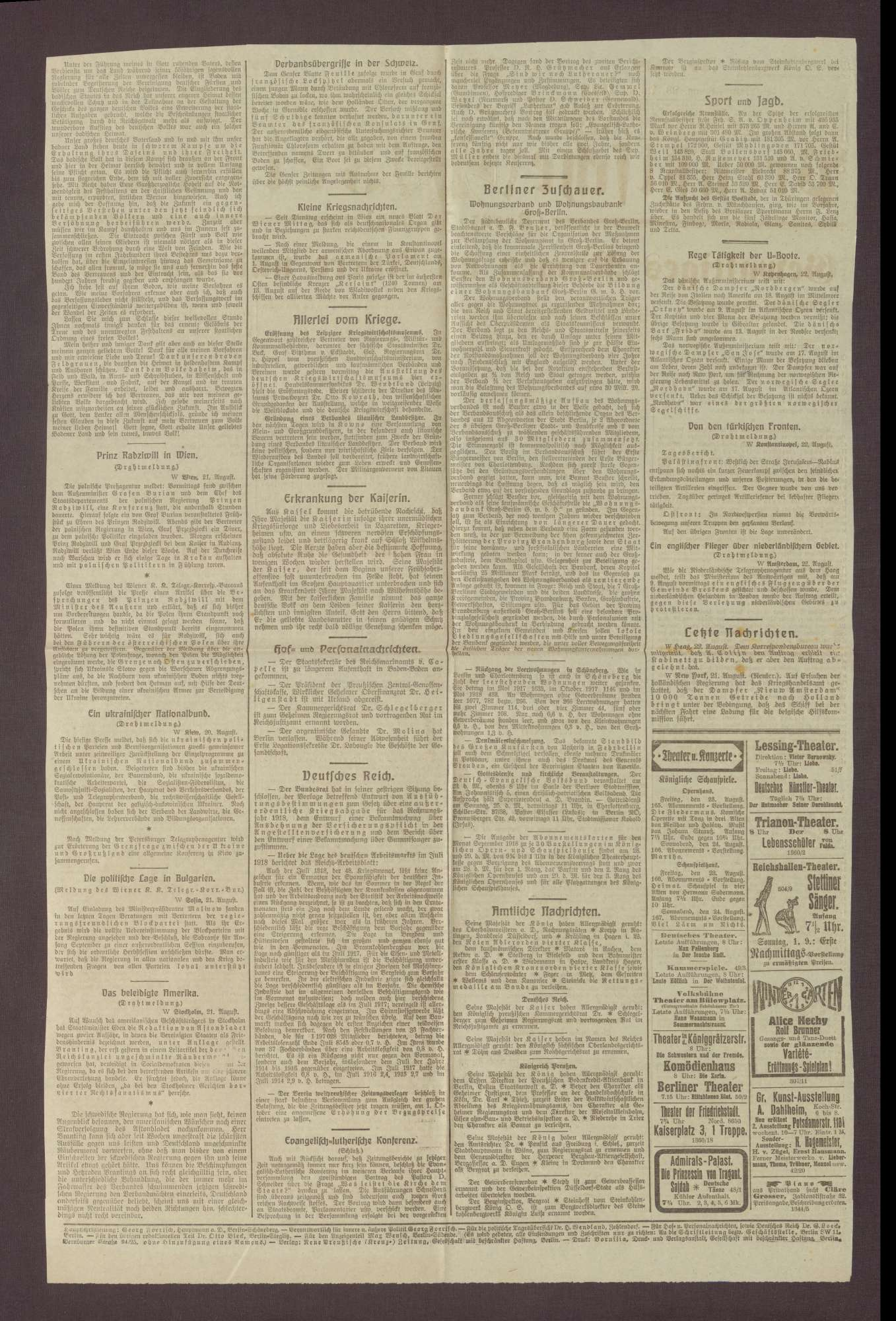 """Artikel in den Neuen Preußischen Zeitung: """"Prinz Max von Baden über den Völkerbund"""", Bild 2"""