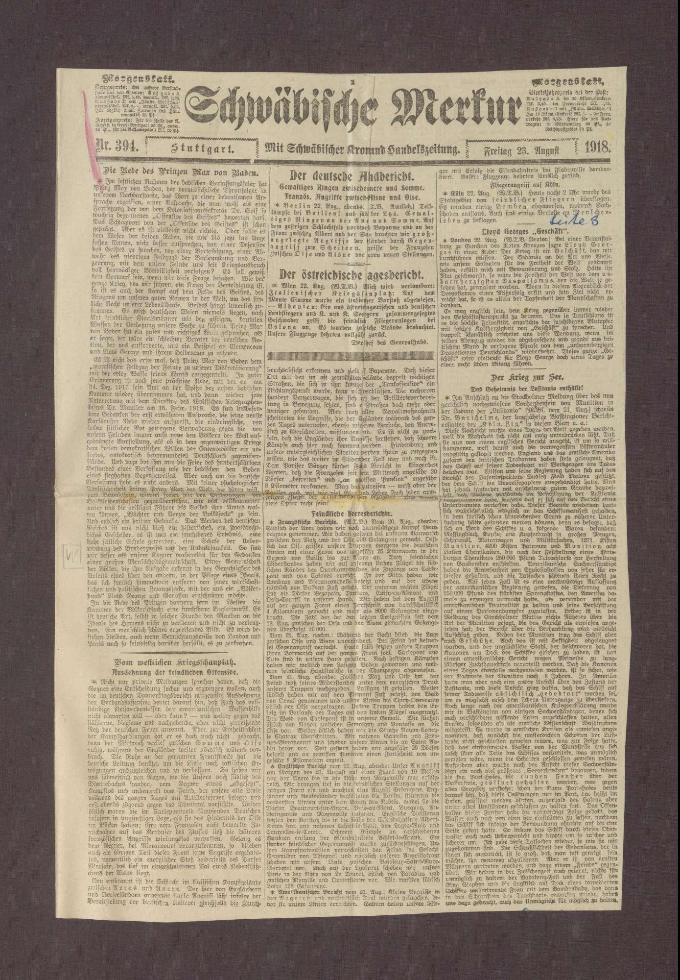 """Artikel in dem Schwäbischen Merkur: """"Die Rede des Prinzen Max von Baden"""", Bild 1"""