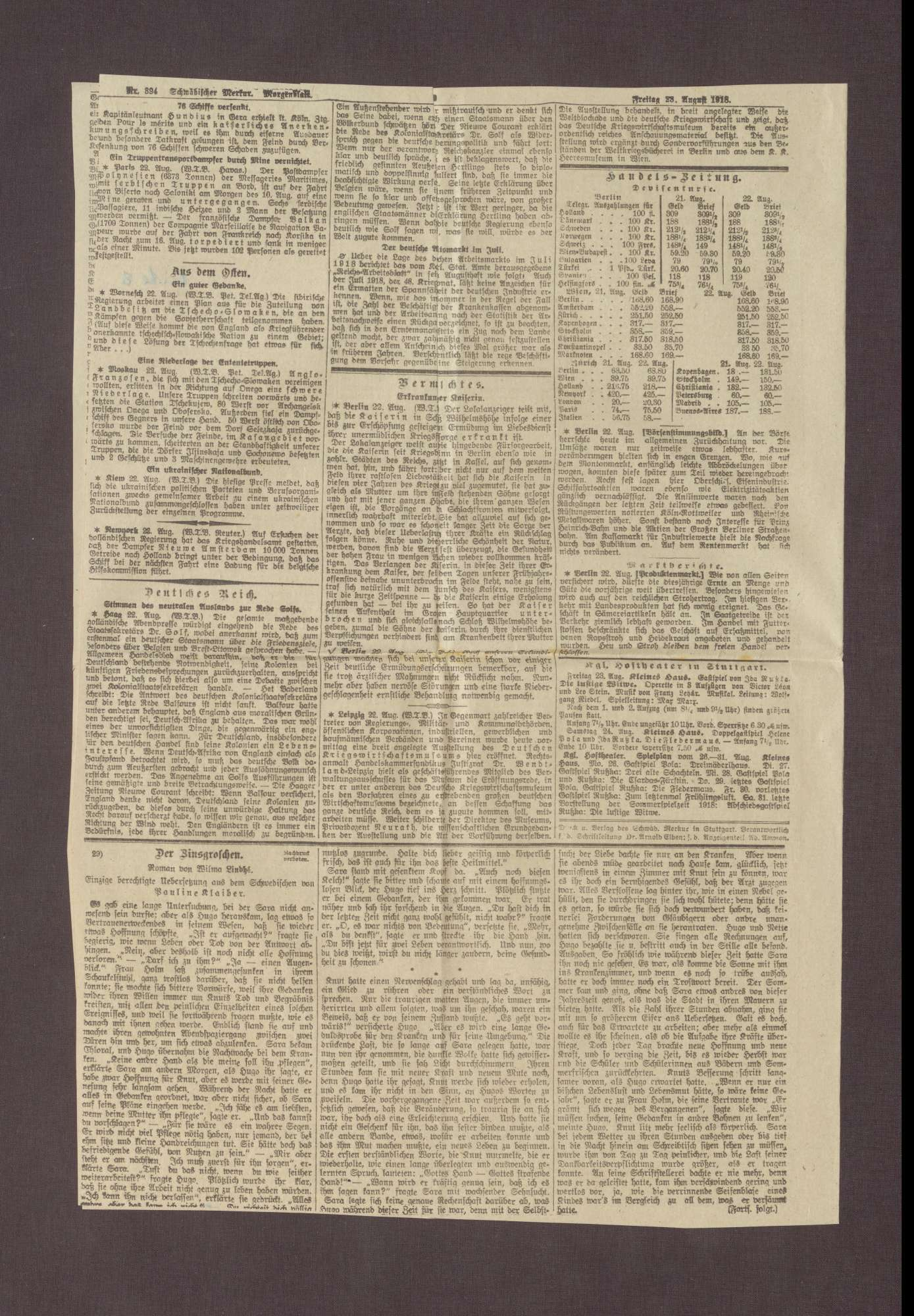 """Artikel in dem Schwäbischen Merkur: """"Die Rede des Prinzen Max von Baden"""", Bild 2"""