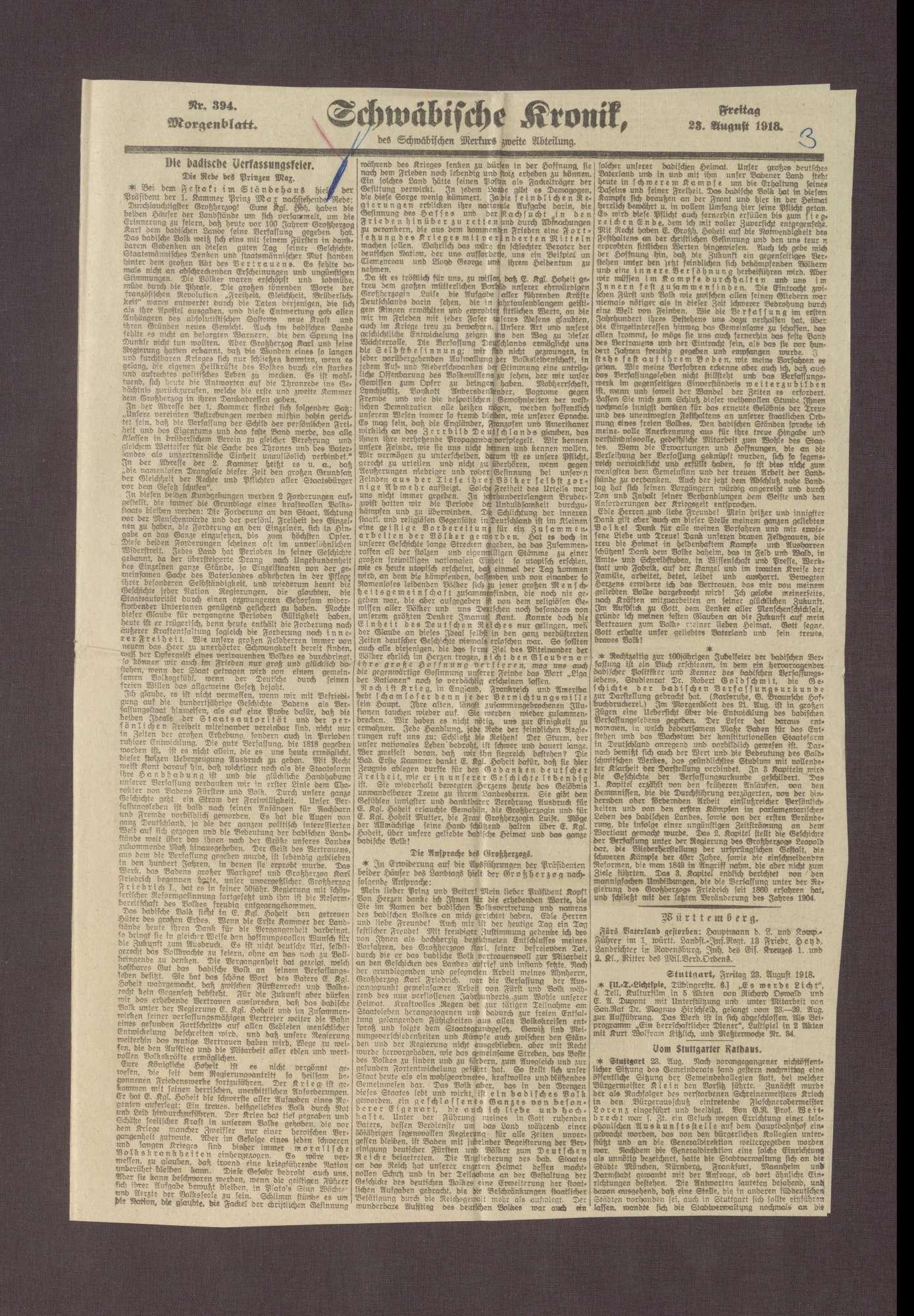 """Artikel in dem Schwäbischen Merkur: """"Die Rede des Prinzen Max von Baden"""", Bild 3"""