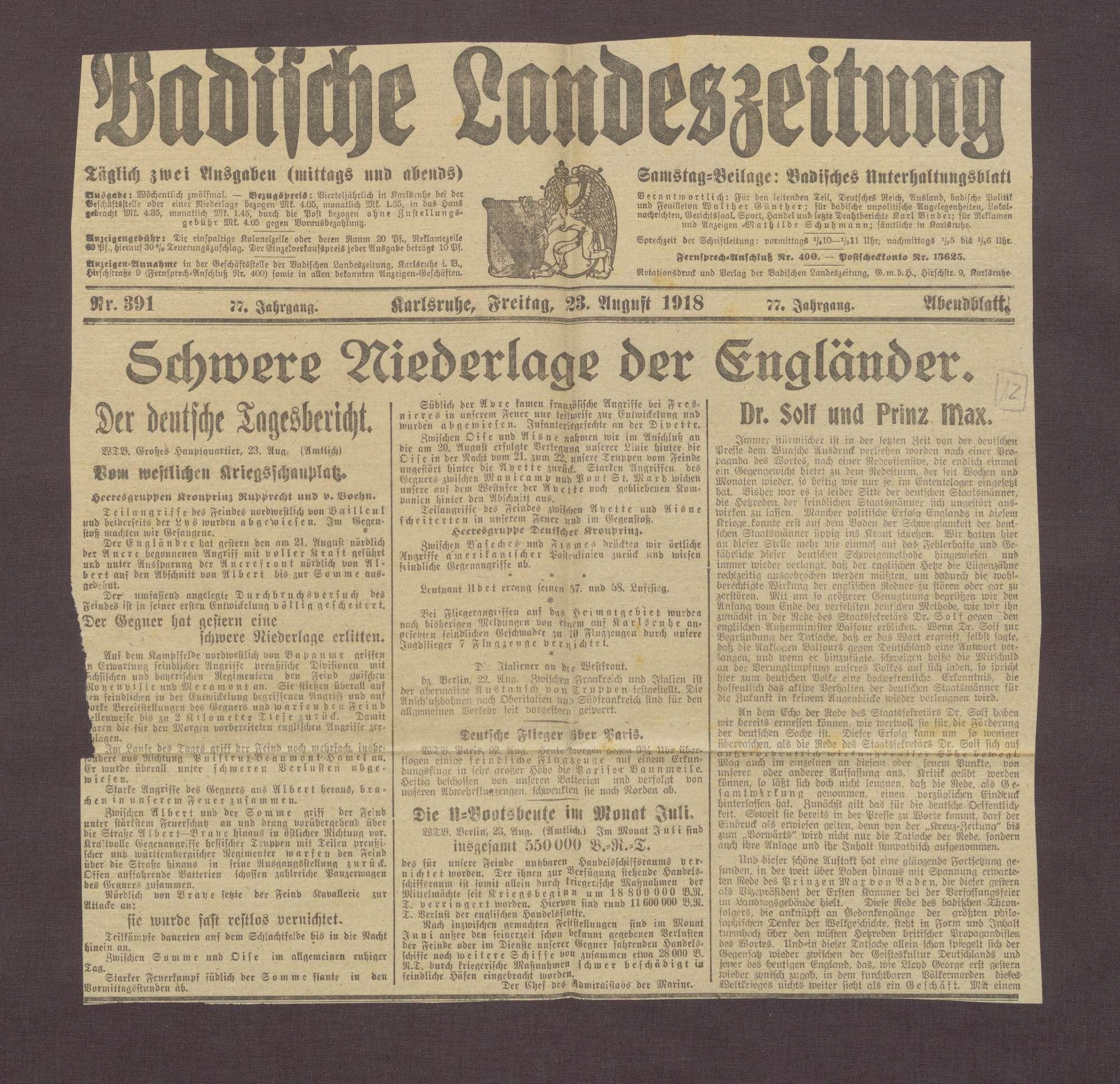 """Artikel in der Badischen Landeszeitung: """"Dr. Solf und Prinz Max"""", Bild 1"""