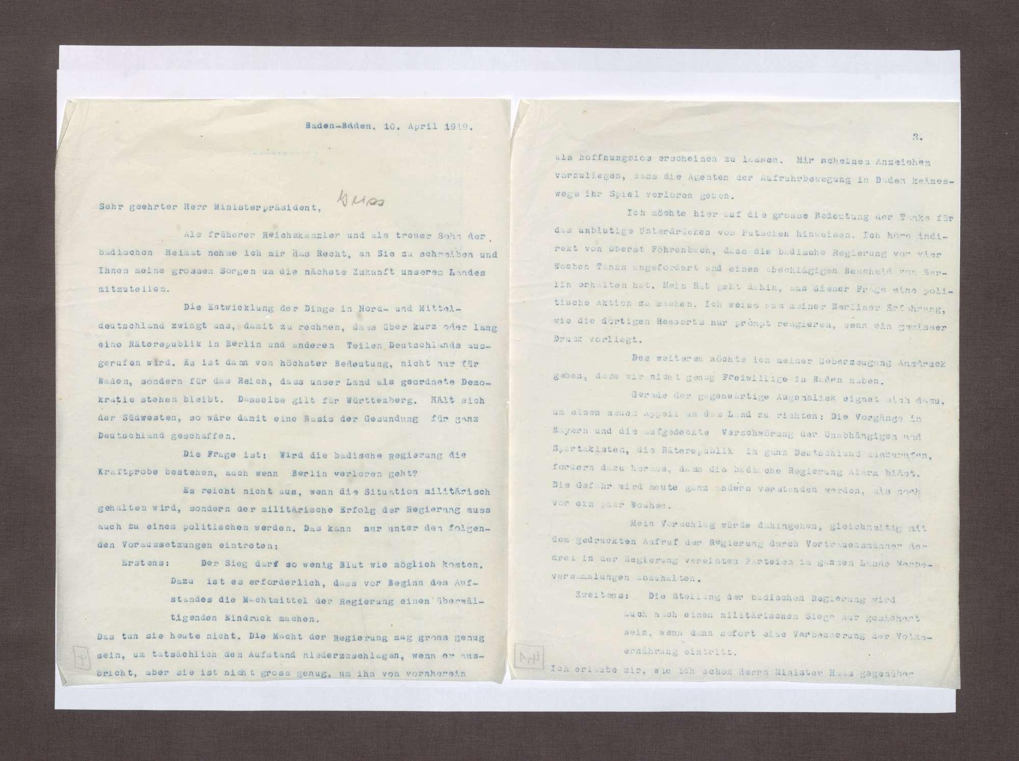 Schreiben von Max von Baden an Anton Geiß; Bedrohliche politische Lage in Deutschland und Überlegung des Erwerbs von Tanks zur Bekämpfung von Unruhen, Bild 1