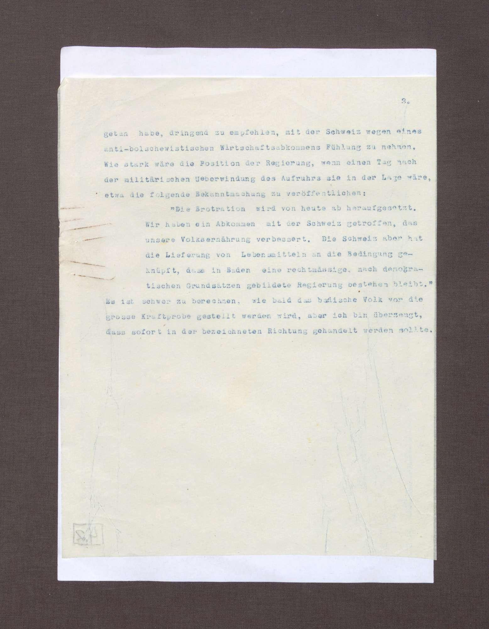 Schreiben von Max von Baden an Anton Geiß; Bedrohliche politische Lage in Deutschland und Überlegung des Erwerbs von Tanks zur Bekämpfung von Unruhen, Bild 2