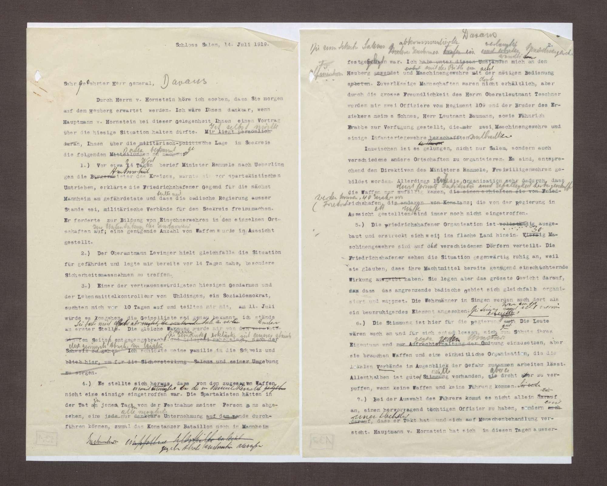 Schreiben von Prinz Max von Baden an Julius von Dawans; Politische Lage im Seekreis; Spartakisten in Friedrichshafen und Bedrohung der Familie Max von Badens, Bild 1