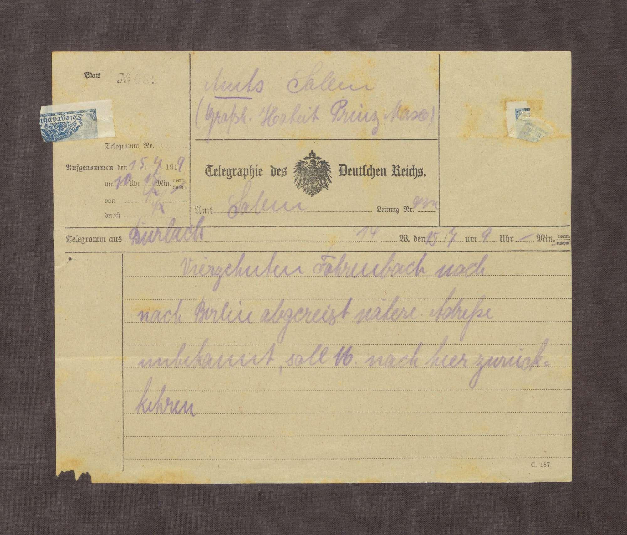 Telegramm aus Durlach an Prinz Max von Baden; Abreise von Constantin Fehrenbach nach Berlin, Bild 1