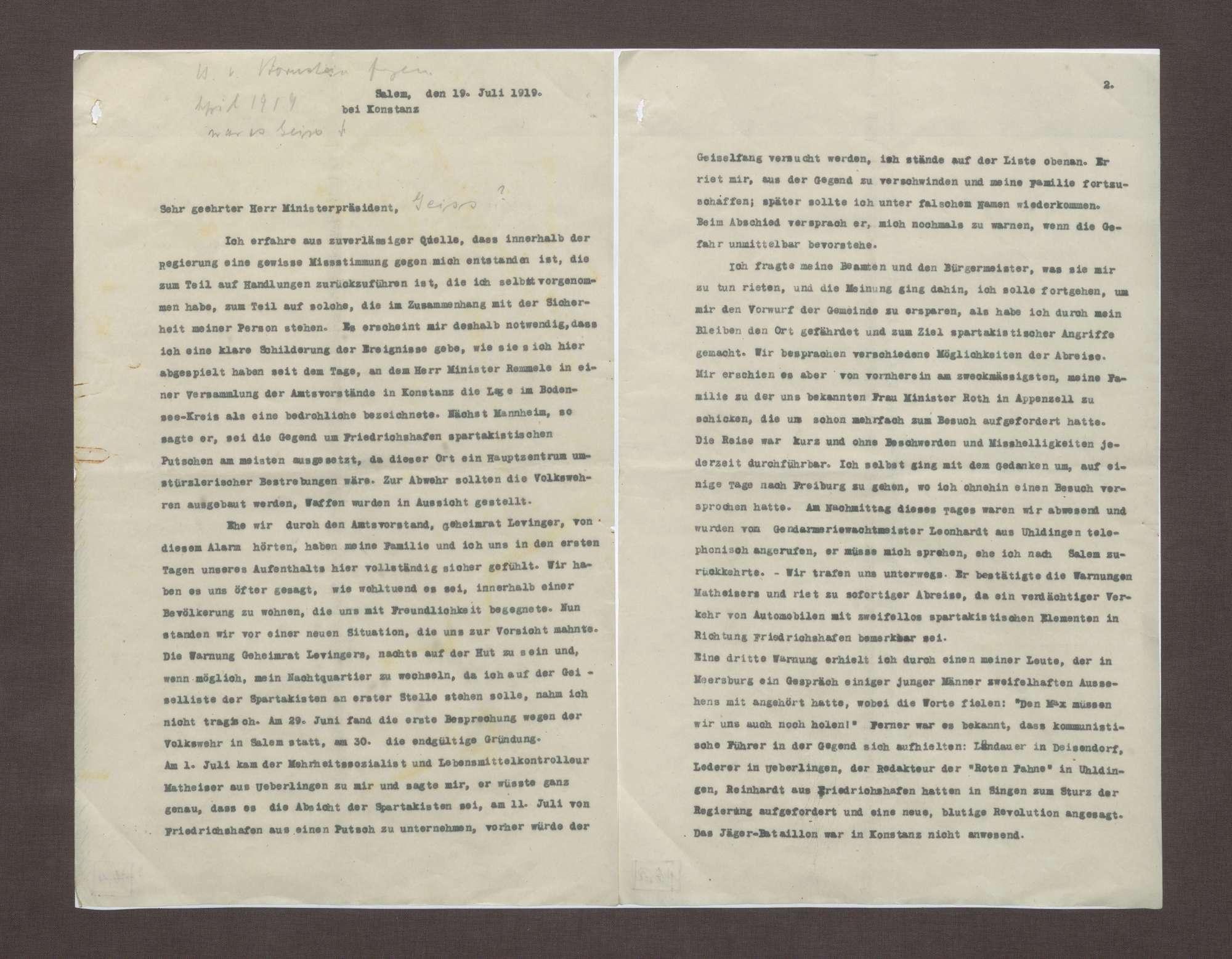 Schreiben von Prinz Max von Baden an Anton Geiß; Erklärung der Flucht seiner Familie mit der Bedrohung durch Spartakisten am Bodensee, Bild 1