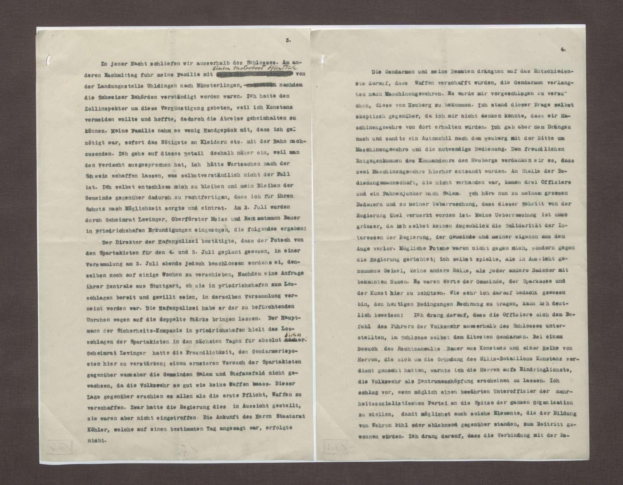 Schreiben von Prinz Max von Baden an Anton Geiß; Erklärung der Flucht seiner Familie mit der Bedrohung durch Spartakisten am Bodensee, Bild 2
