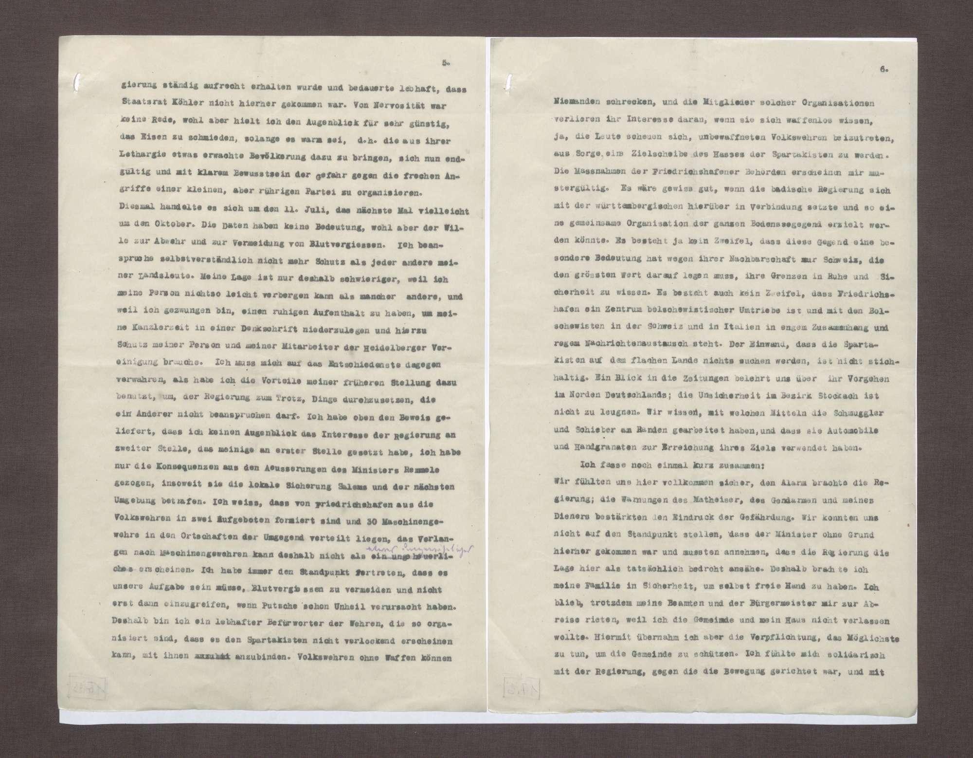 Schreiben von Prinz Max von Baden an Anton Geiß; Erklärung der Flucht seiner Familie mit der Bedrohung durch Spartakisten am Bodensee, Bild 3