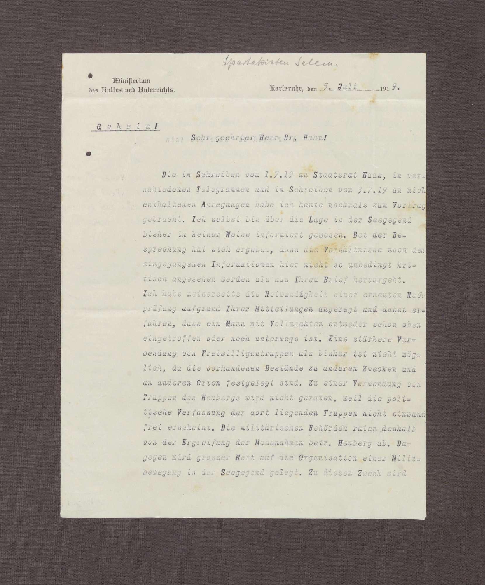 Schreiben von Hermann Hummel an Kurt Hahn; politische Lage am Bodensee und Verwendung von Truppen aus Heuberg zur Bekämpfung der Unruhen, Bild 1