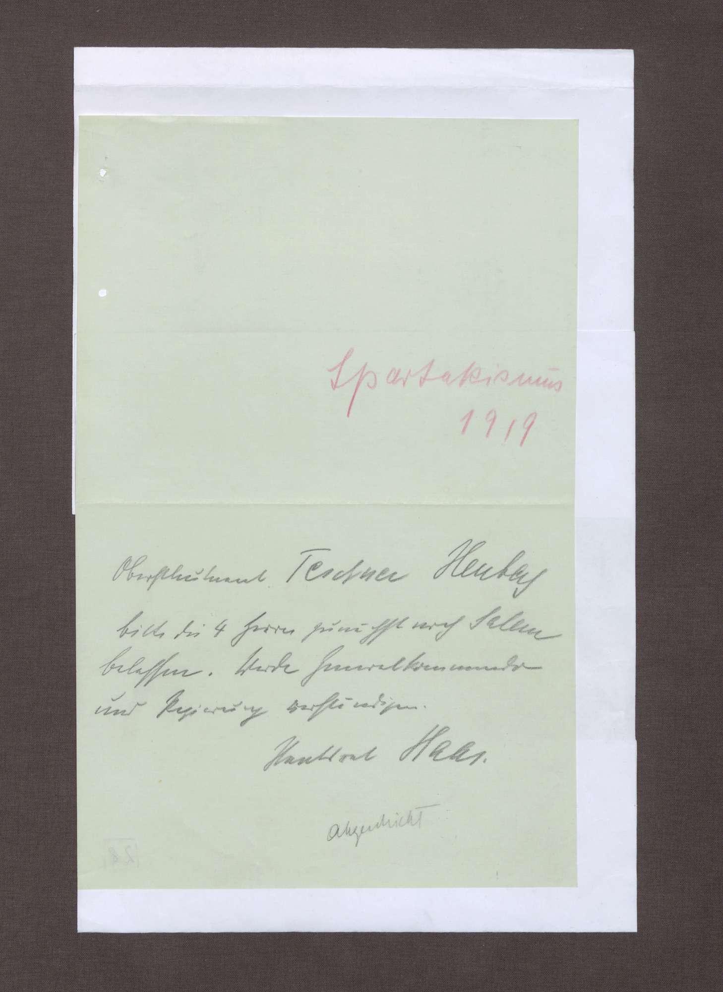 Notiz von Ludwig Haas bzgl. des Aufenthalts von 4 Herren in Salem, Bild 1