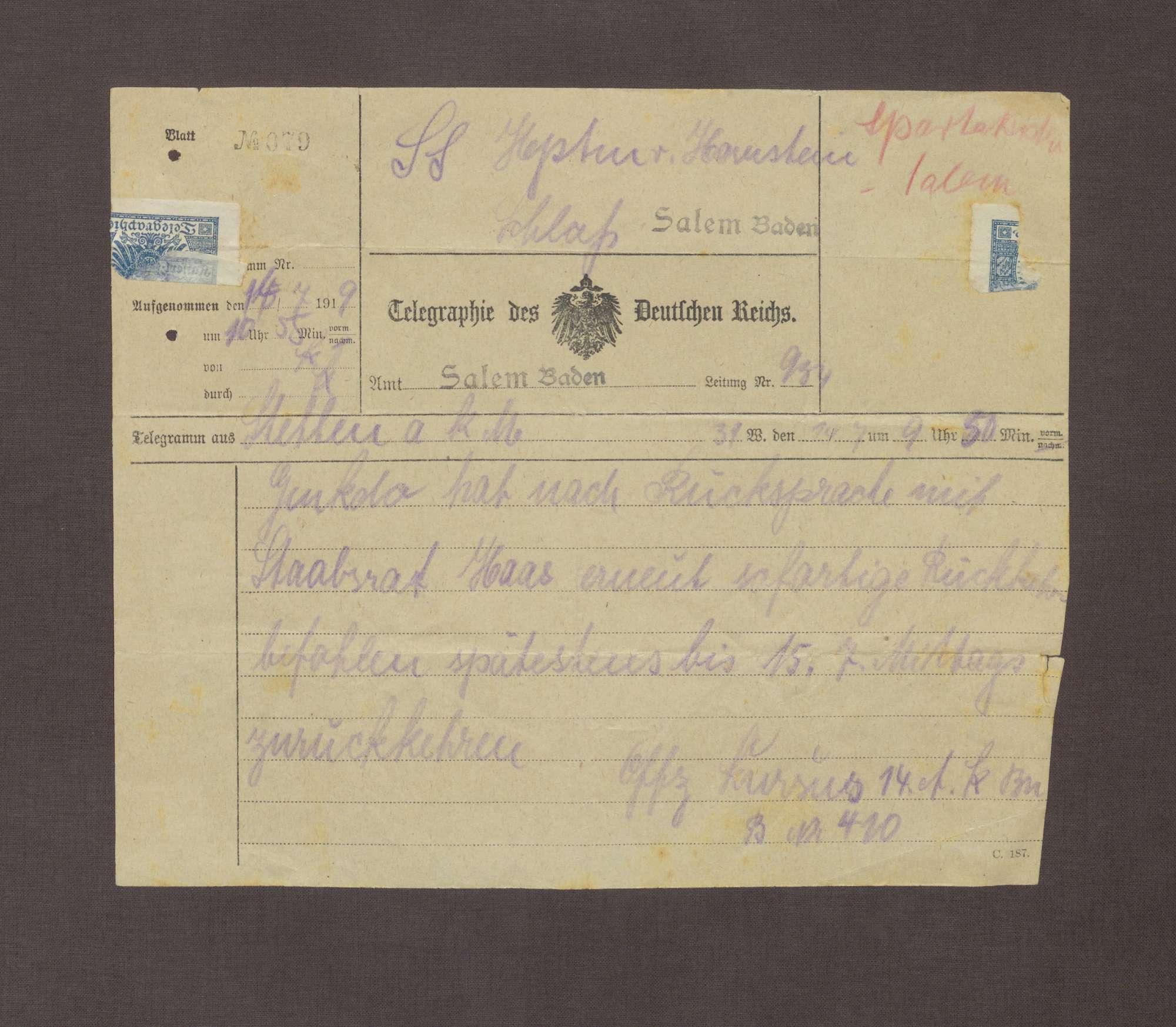Telegramm von Offizier Kursus; Befehl von Ludwig Haas zur Rückkehr der Truppen, Bild 1