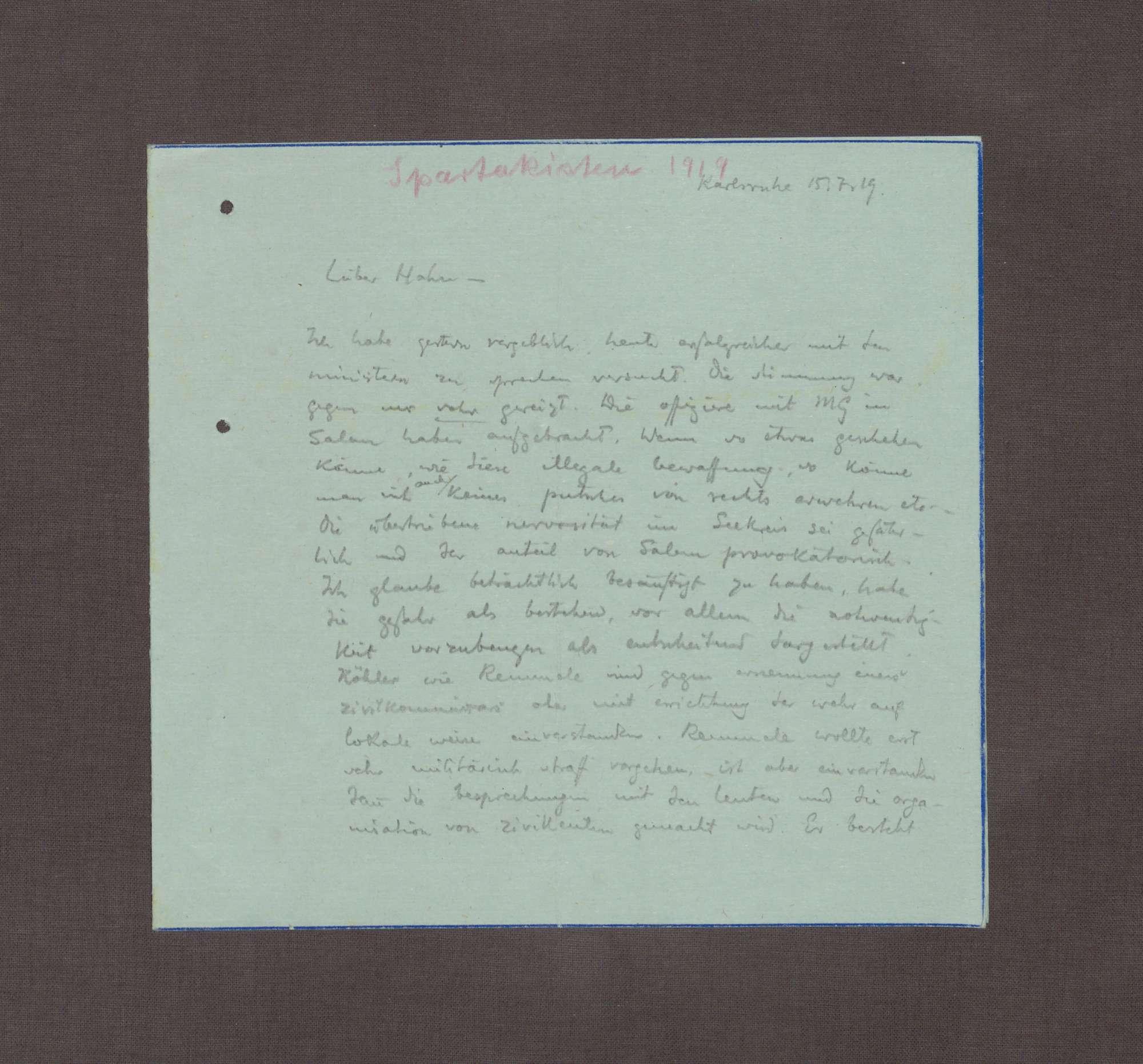 Schreiben von Ruhholtz an Kurt Hahn; Kritische Stimmung gegenüber den Maßnahmen zur Verteidigung in Salem, Bild 1
