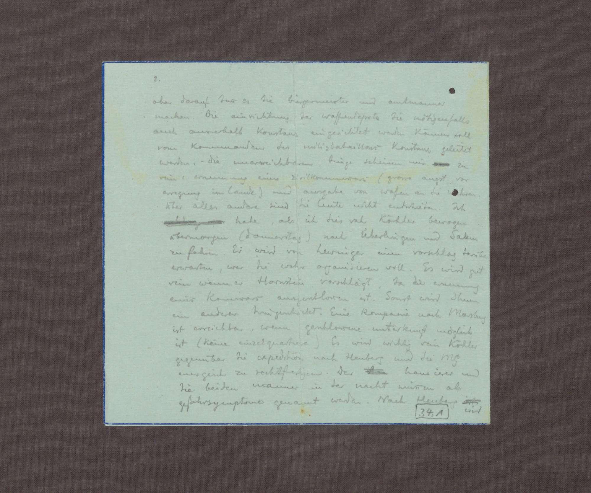 Schreiben von Ruhholtz an Kurt Hahn; Kritische Stimmung gegenüber den Maßnahmen zur Verteidigung in Salem, Bild 3