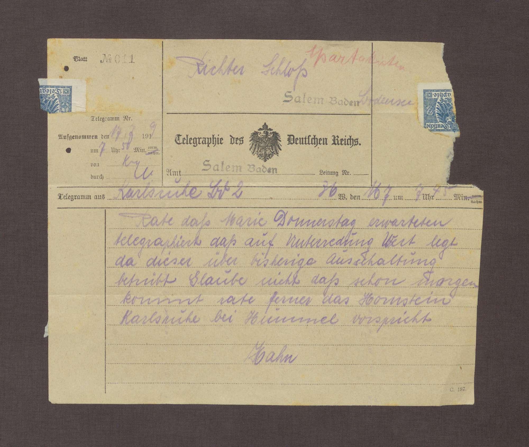Telegramm von Kurt Hahn; Unterredung zwischen Hermann Hummel und Hauptmann von Hornstein, Bild 1