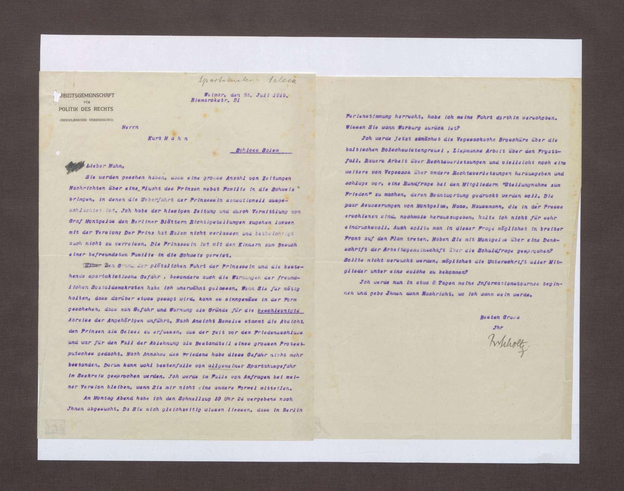 Schreiben von Ruhholtz an Kurt Hahn; Berichterstattung über die vermeintliche Flucht von Prinz Max von Baden, Bild 1