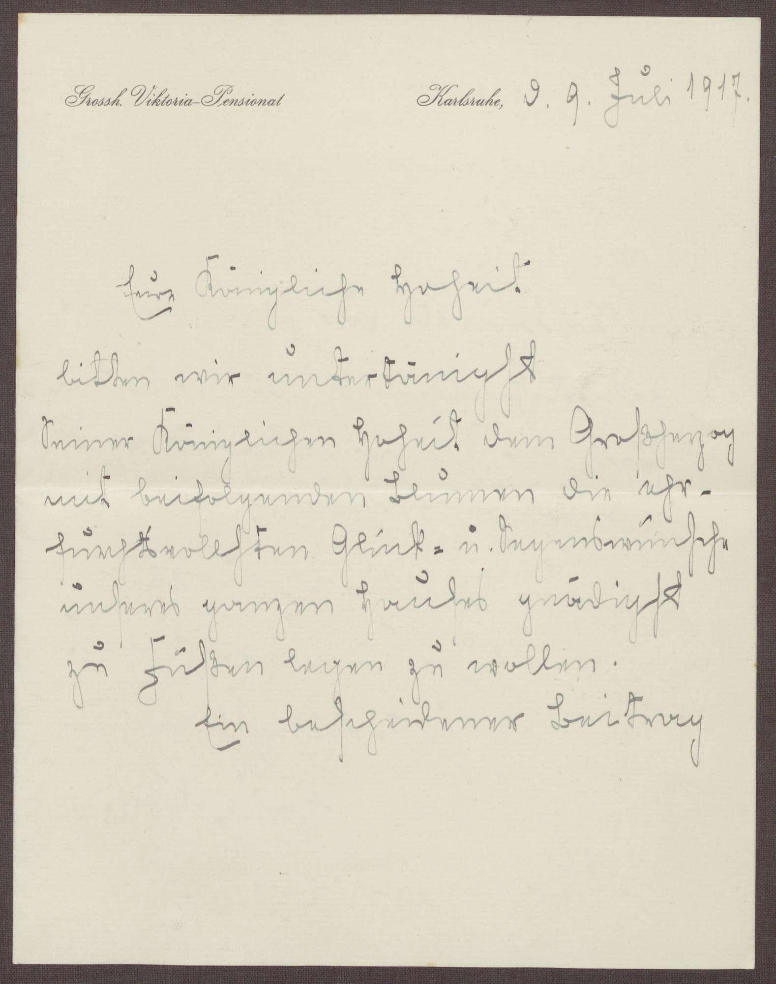 Schreiben von Emilie Göler an die Großherzogin Luise; Geburtstagswünsche für den Großherzog Friedrich II., Bild 1