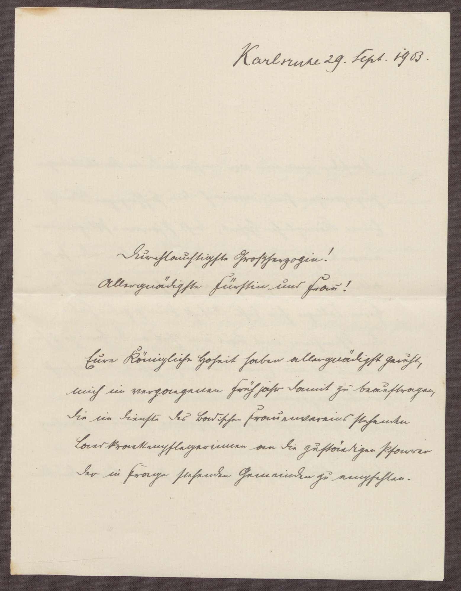 Schreiben von Otto Frommel an die Großherzogin Luise; Beziehung zwischen den Pflegeeinrichtungen und den Pfarreien; neue Orgel für die Kirche in Gaiberg, Bild 1