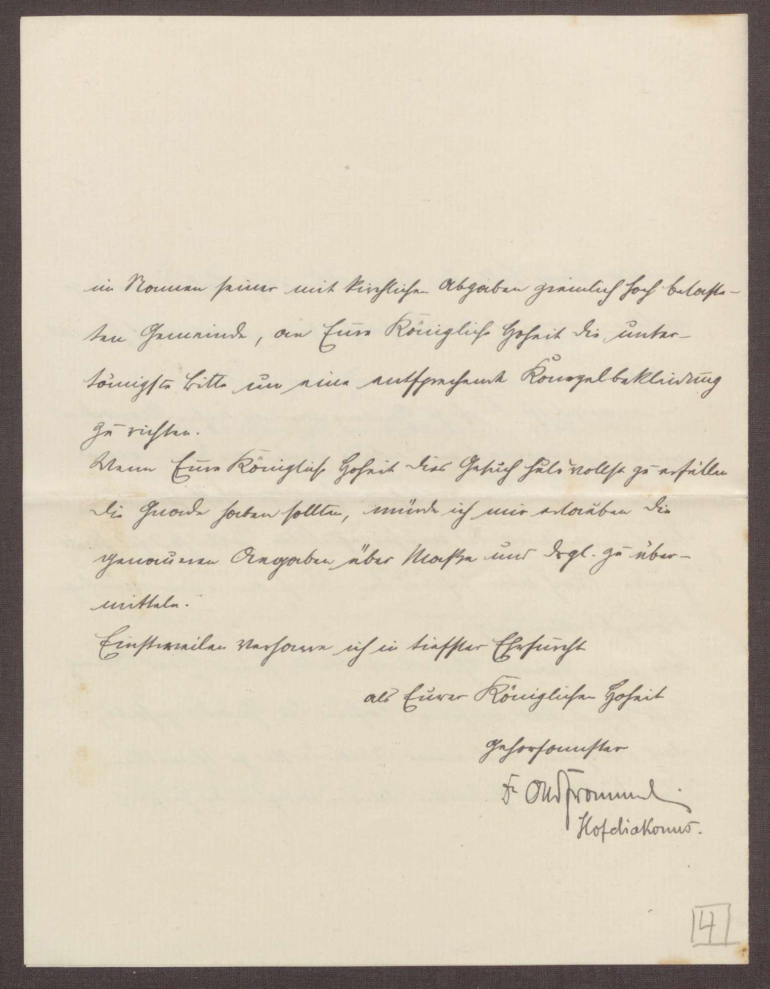 Schreiben von Otto Frommel an die Großherzogin Luise; Beziehung zwischen den Pflegeeinrichtungen und den Pfarreien; neue Orgel für die Kirche in Gaiberg, Bild 3