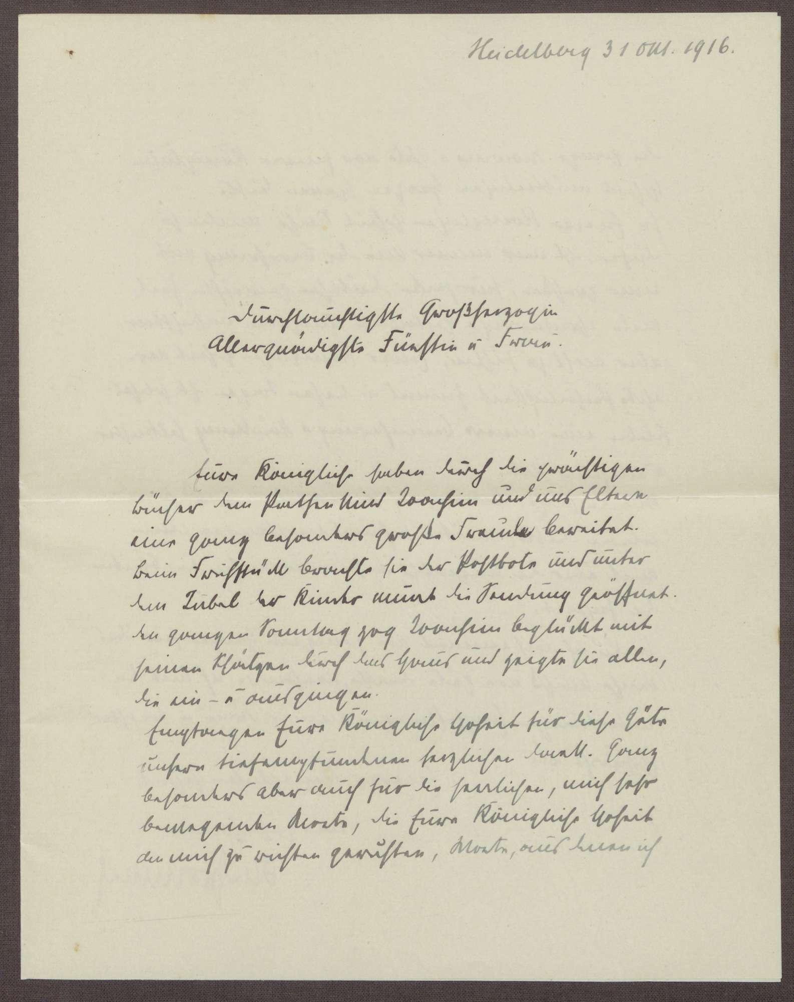 Schreiben von Otto Frommel an die Großherzogin Luise; Dank für ein Geschenk für den Patensohn Klaus Joachim Frommel, Bild 1