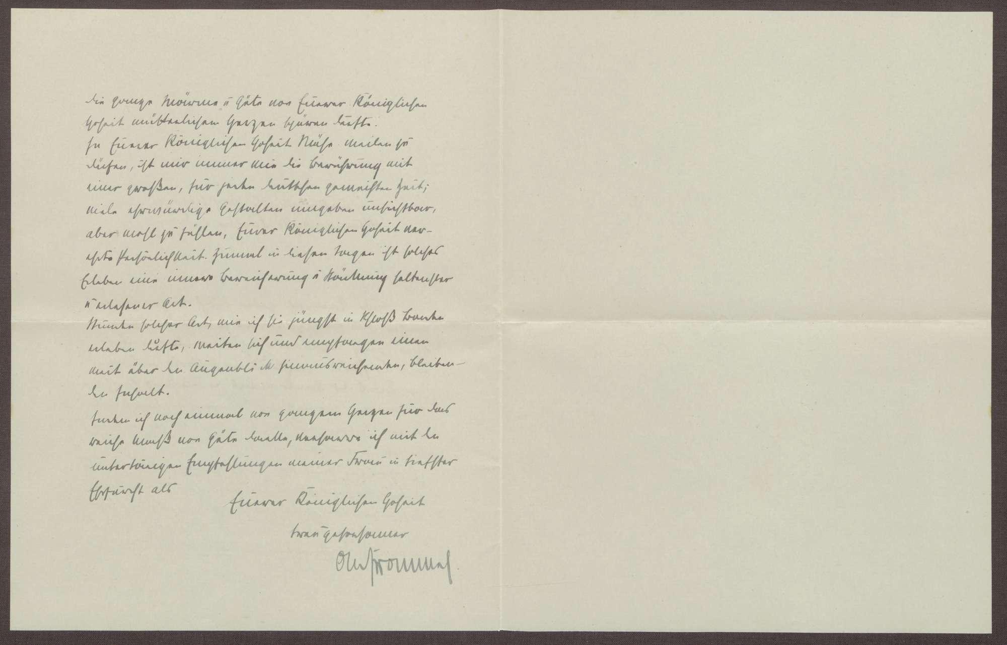 Schreiben von Otto Frommel an die Großherzogin Luise; Dank für ein Geschenk für den Patensohn Klaus Joachim Frommel, Bild 2