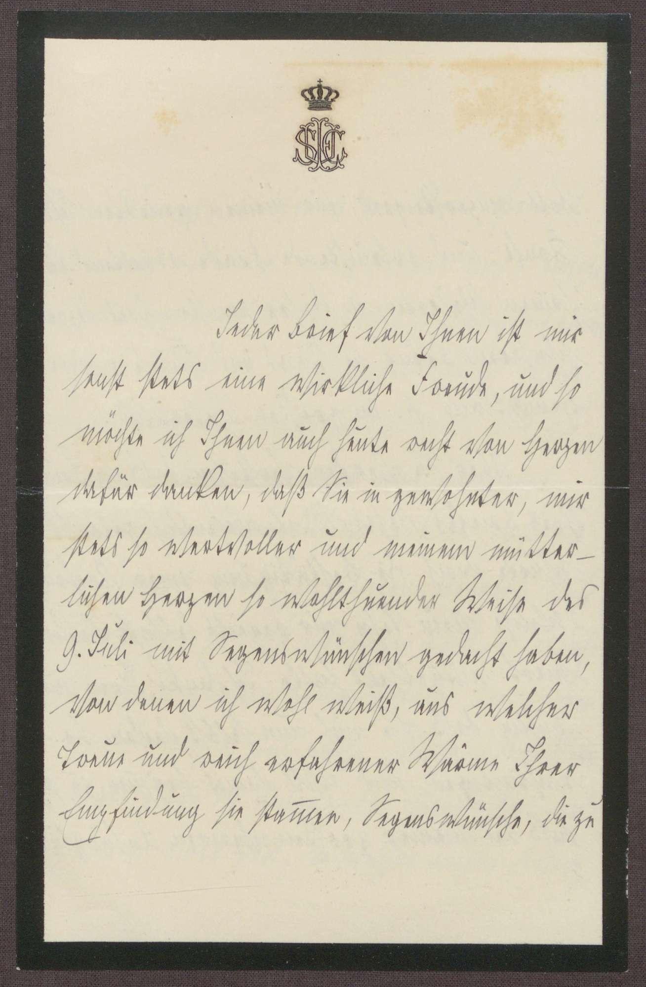 Schreiben von der Großherzogin Luise an Otto Frommel; Dank für ein Schreiben zum Geburstag von Großherzog Friedrich II. und Gedanken über die Stelle als Hofpediger in Weimar, Bild 1