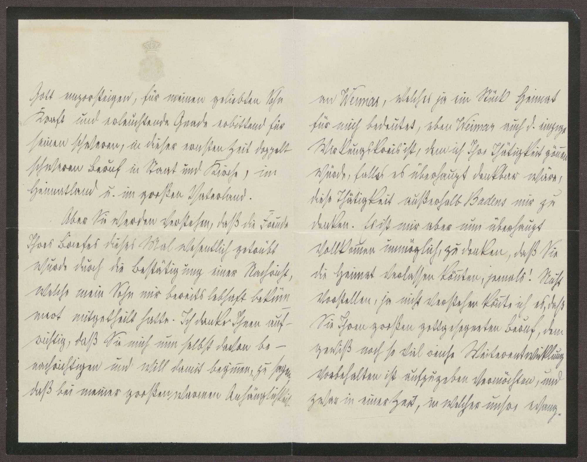 Schreiben von der Großherzogin Luise an Otto Frommel; Dank für ein Schreiben zum Geburstag von Großherzog Friedrich II. und Gedanken über die Stelle als Hofpediger in Weimar, Bild 2