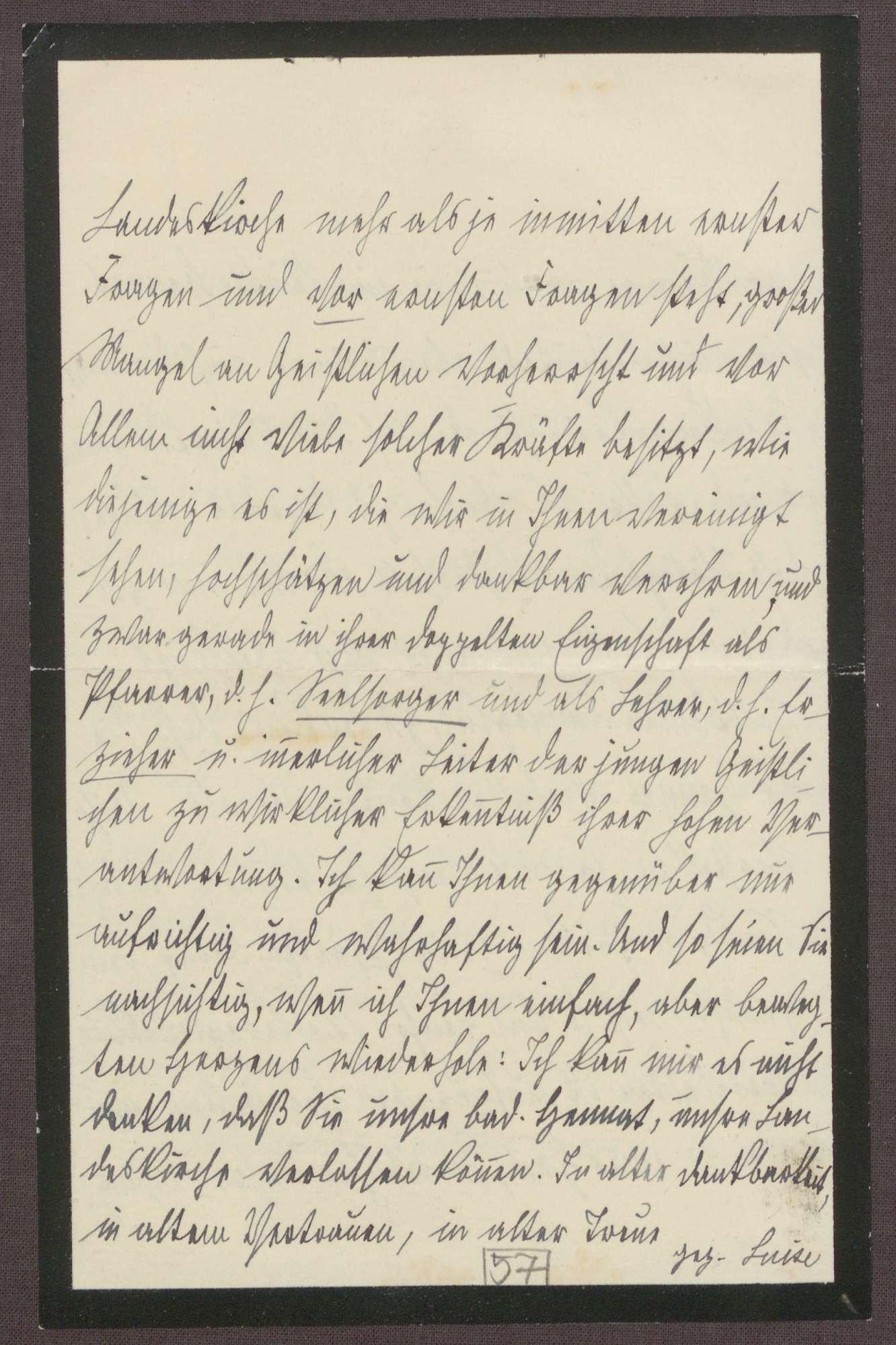 Schreiben von der Großherzogin Luise an Otto Frommel; Dank für ein Schreiben zum Geburstag von Großherzog Friedrich II. und Gedanken über die Stelle als Hofpediger in Weimar, Bild 3