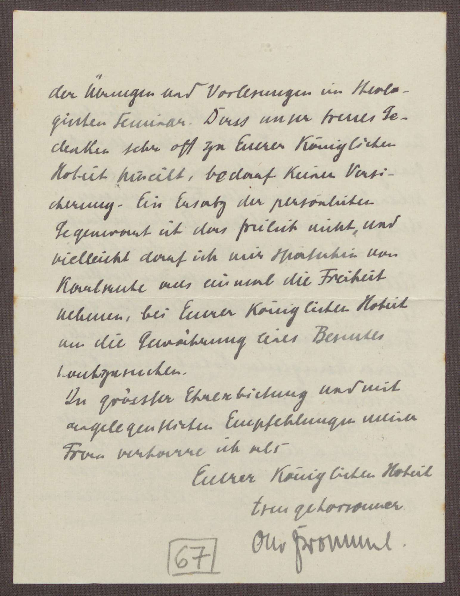 Schreiben von Otto Frommel an die Großherzogin Luise; Bericht über eine gut verlaufene Operation; Besuch des Schlosses in Baden-Baden durch eine Delegation des Frauenvereins, Bild 3