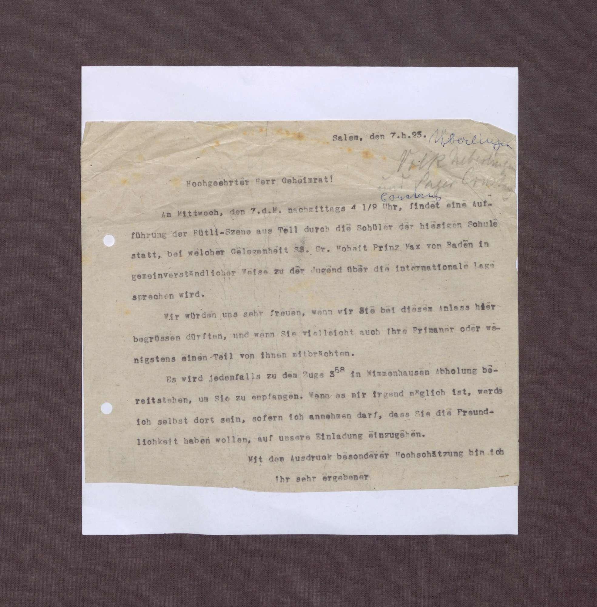 Einladung von Kurt Hahn an Friedrich Payer zur Teilnahme an einer Schulaufführung, Bild 1