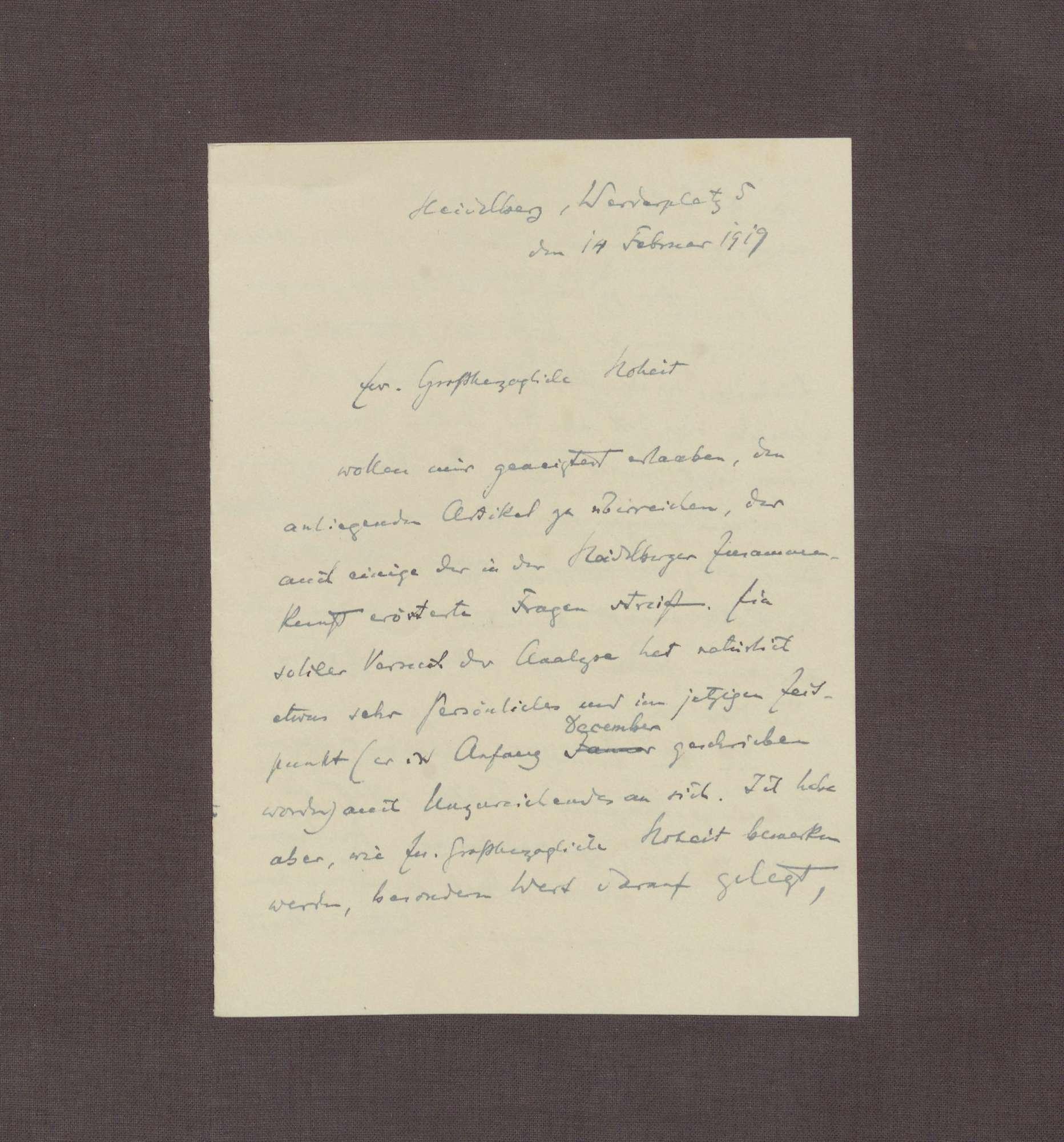 Schreiben von Hermann Oncken an Prinz Max von Baden; Zusendung eines Artikels von Hermann Oncken; Taktik bei den Verhandlungen in Versailles; Äußerungen Max Webers zu den Friedensverhandlungen, Bild 1
