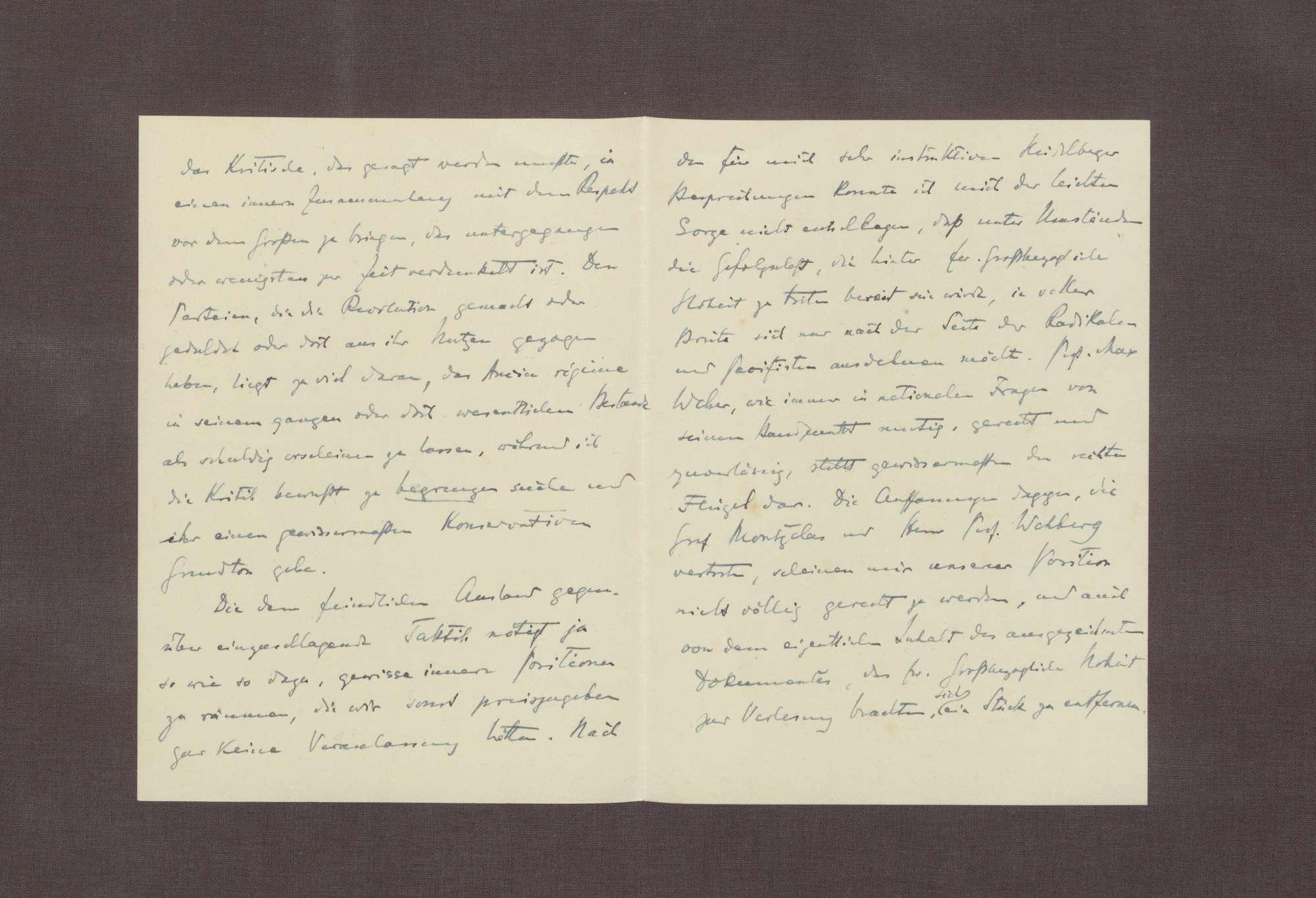 Schreiben von Hermann Oncken an Prinz Max von Baden; Zusendung eines Artikels von Hermann Oncken; Taktik bei den Verhandlungen in Versailles; Äußerungen Max Webers zu den Friedensverhandlungen, Bild 2