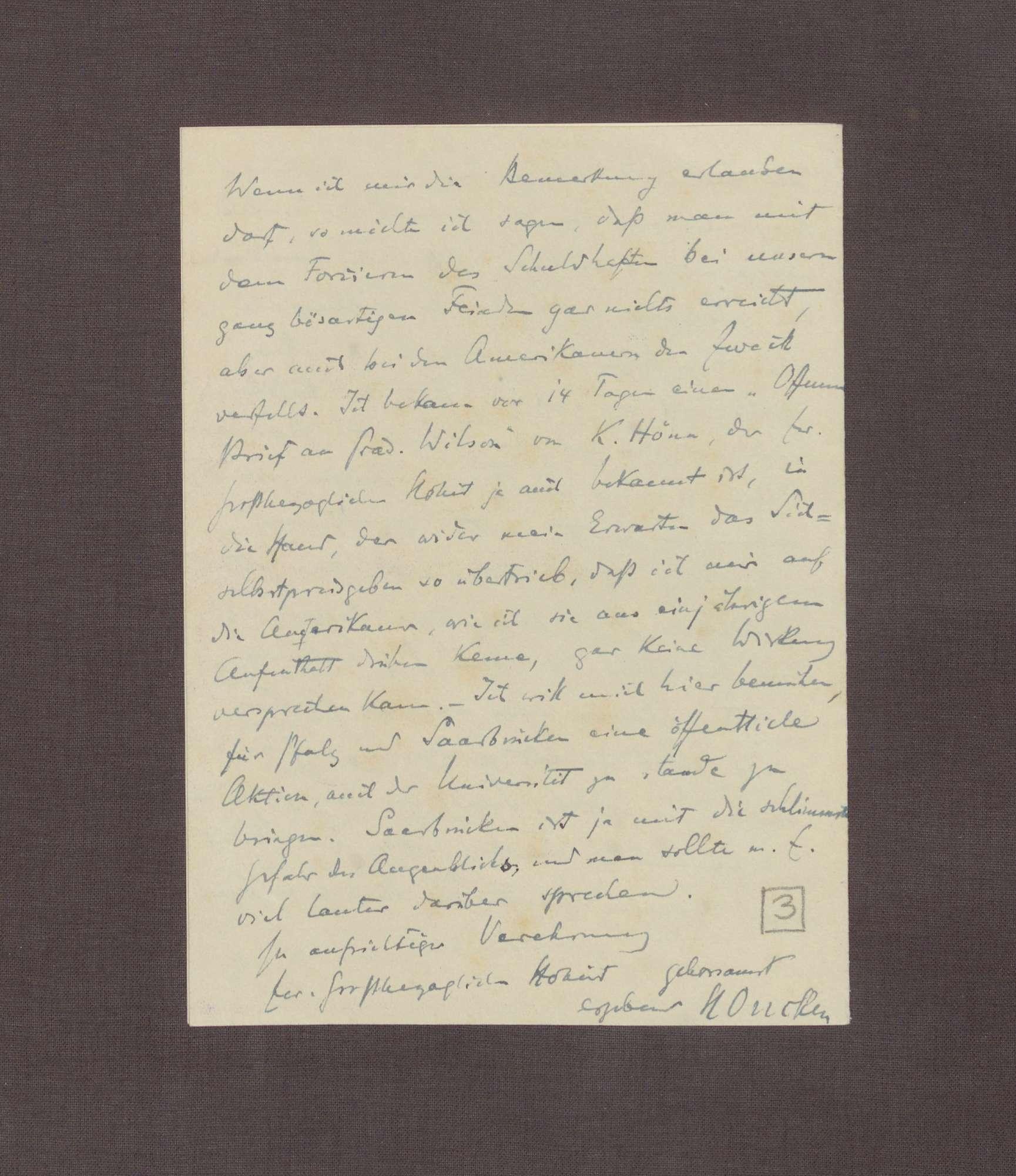 Schreiben von Hermann Oncken an Prinz Max von Baden; Zusendung eines Artikels von Hermann Oncken; Taktik bei den Verhandlungen in Versailles; Äußerungen Max Webers zu den Friedensverhandlungen, Bild 3