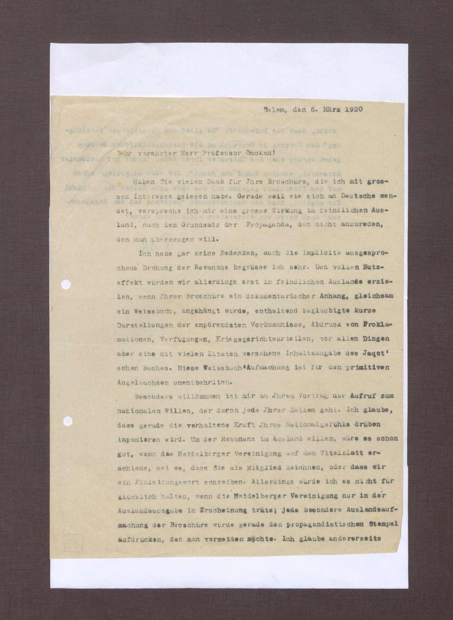 Schreiben von Prinz Max von Baden an Hermann Oncken; Übersendung einer Broschüre von Hermann Oncken und Einschätzungen zu dieser, Bild 1