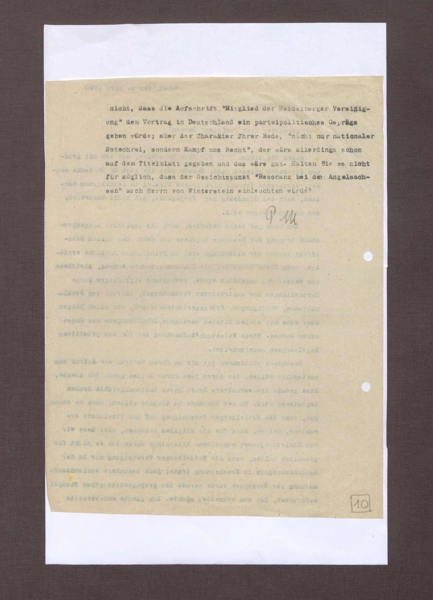 Schreiben von Prinz Max von Baden an Hermann Oncken; Übersendung einer Broschüre von Hermann Oncken und Einschätzungen zu dieser, Bild 2