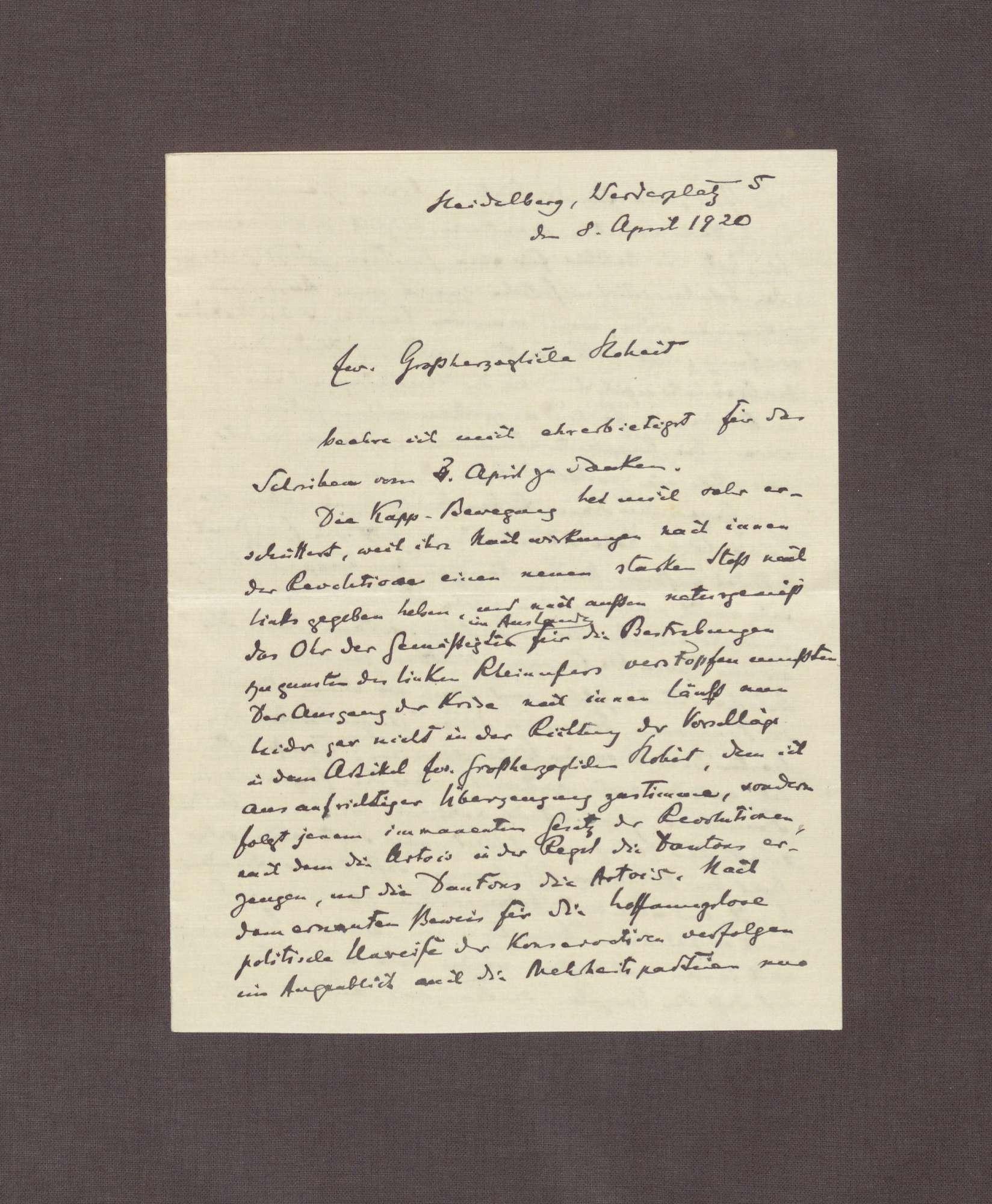 Schreiben von Hermann Oncken an Prinz Max von Baden; Kapp-Putsch, Bild 1