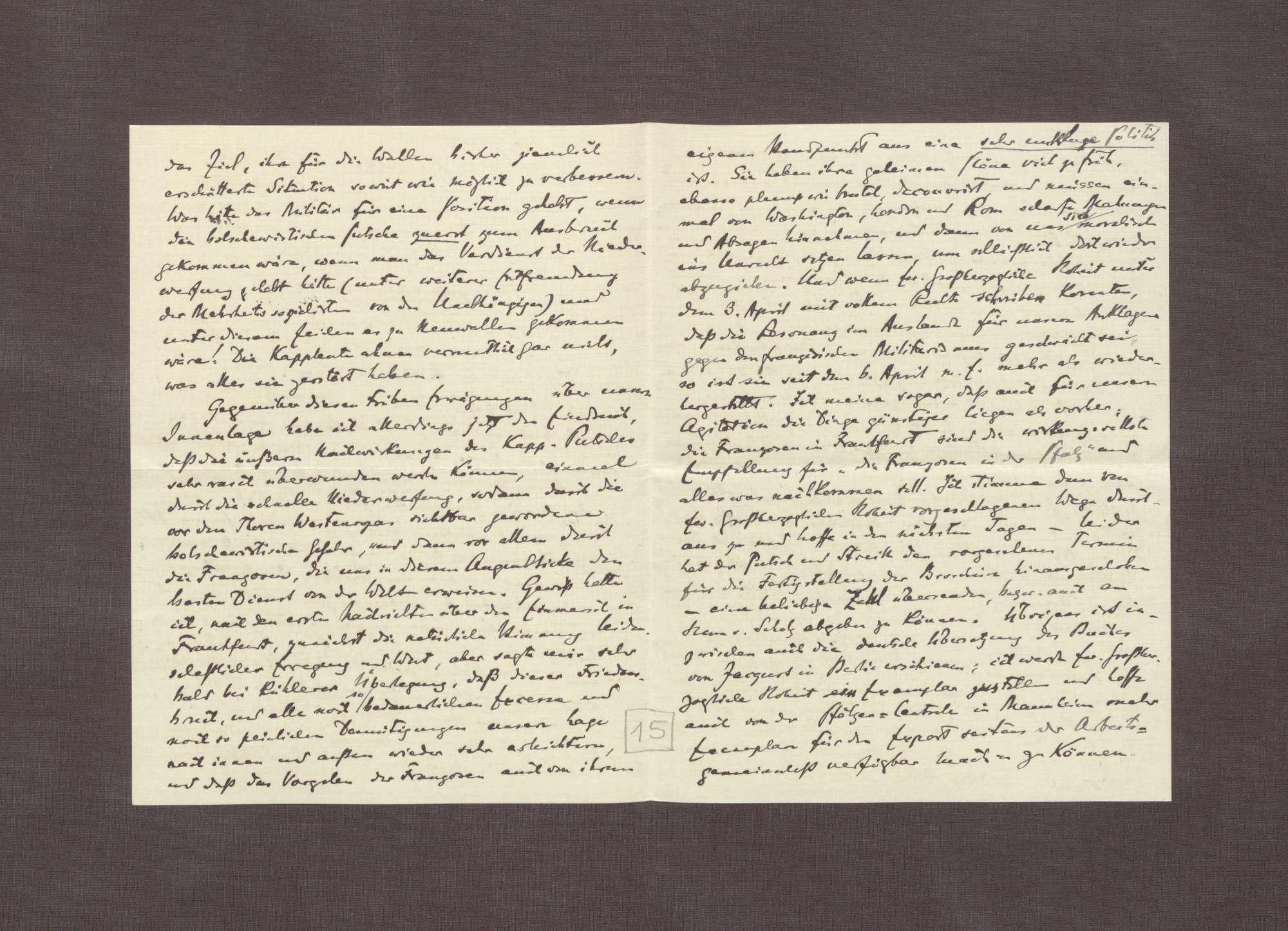 Schreiben von Hermann Oncken an Prinz Max von Baden; Kapp-Putsch, Bild 2