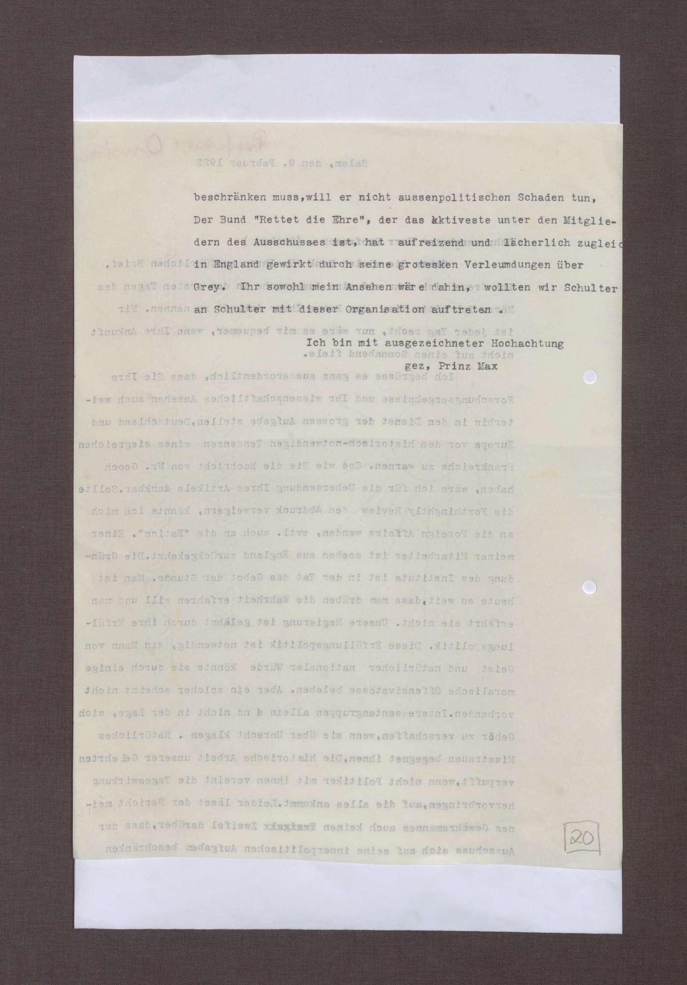Schreiben von Prinz Max von Baden an Hermann Oncken; Notwendigkeit, ein siegreiches Frankreich zu verhindern und Kritik an der Erfüllungspolitik der Reichsregierung Wirth, Bild 2
