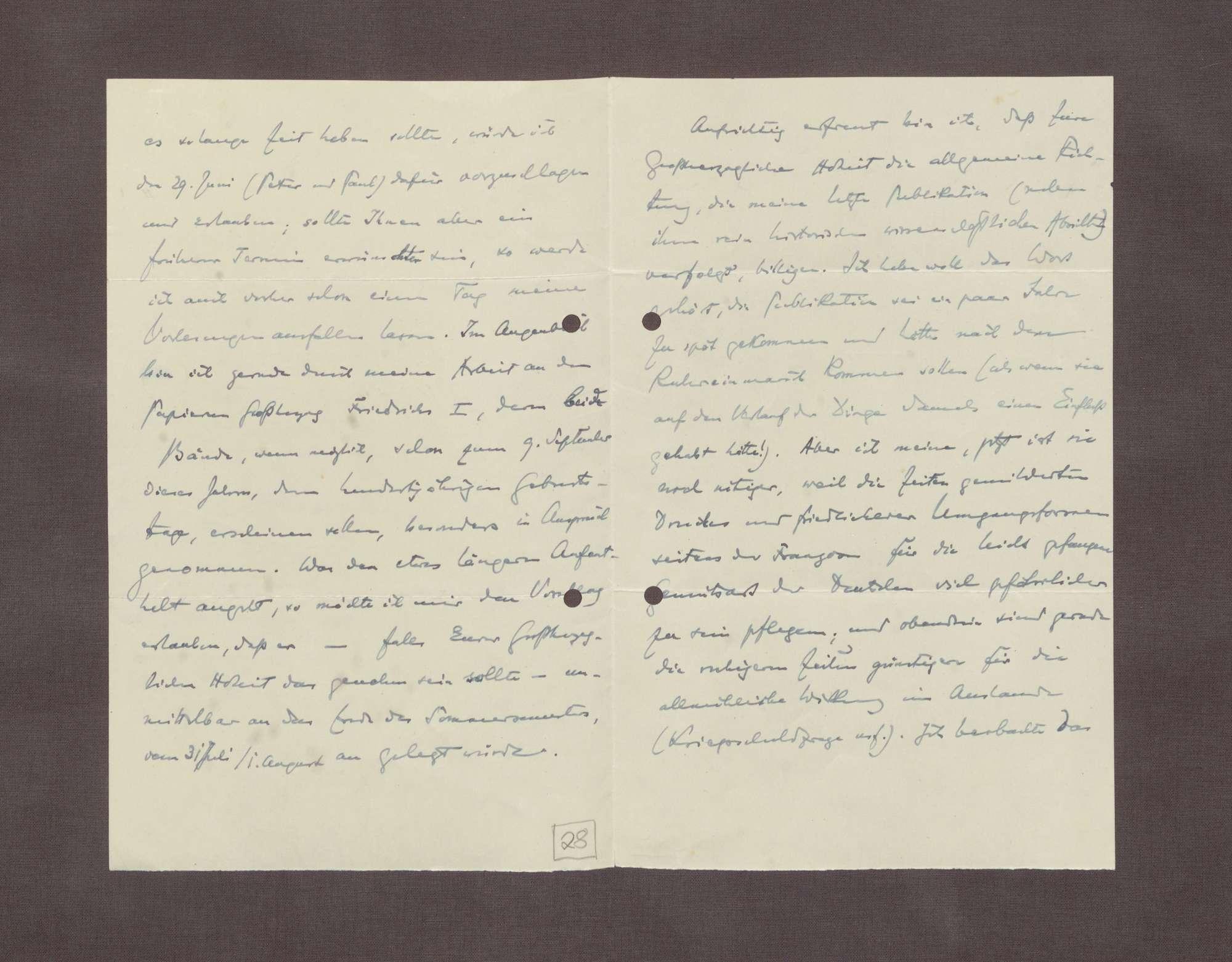 Schreiben von Hermann Oncken an Prinz Max von Baden; Termin für einen Besuch und Arbeit an einem Werk über Großherzog Friedrich I., Bild 2