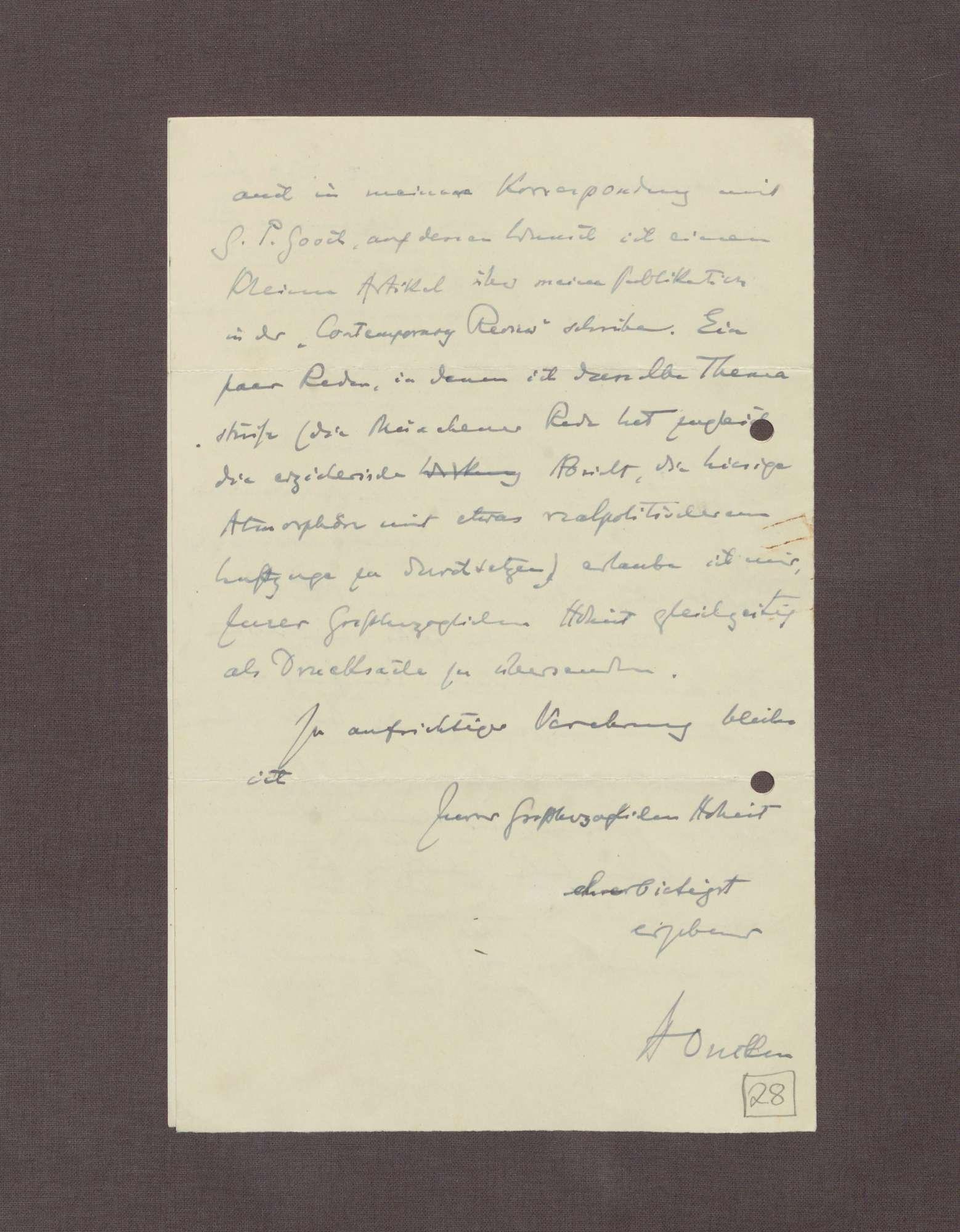 Schreiben von Hermann Oncken an Prinz Max von Baden; Termin für einen Besuch und Arbeit an einem Werk über Großherzog Friedrich I., Bild 3