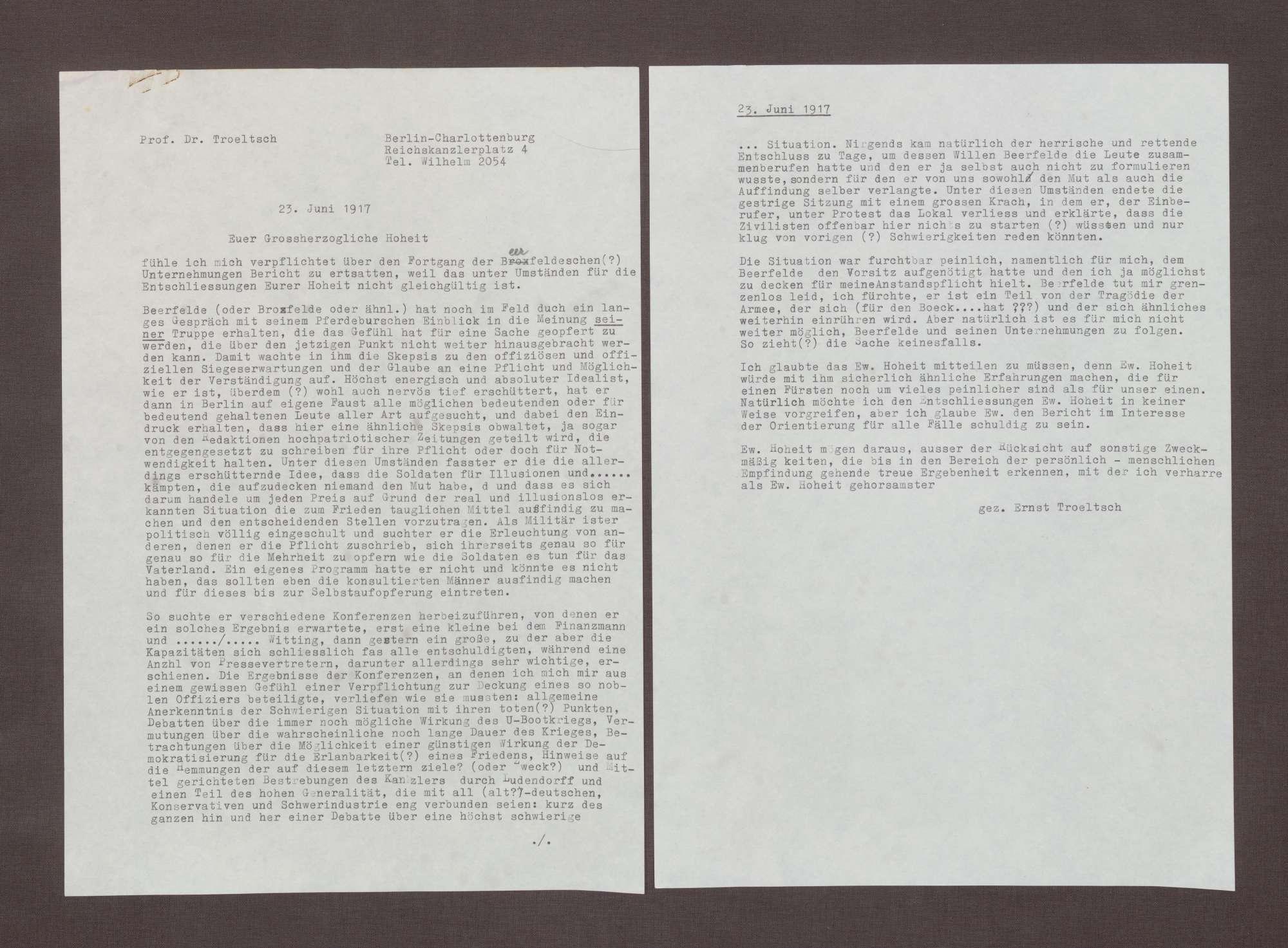 Schreiben von Ernst Troeltsch an Prinz Max von Baden; Einschätzungen zu Beerfelde (Typoskript), Bild 1