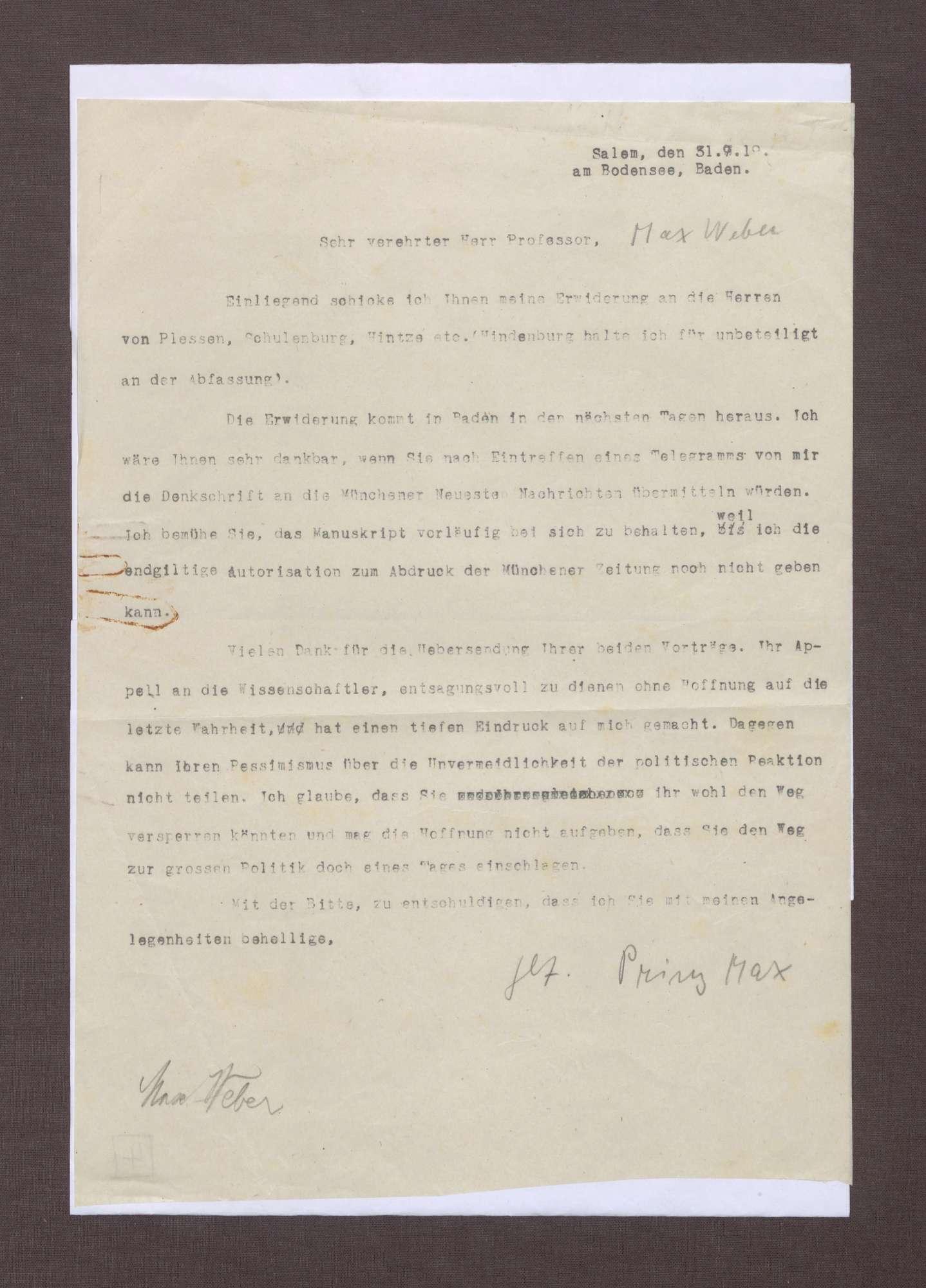 Schreiben von Prinz Max von Baden an Max Weber; Erwiderung auf die Ausführungen von Plessen, Schulenburg, Hintze etc., Bild 1
