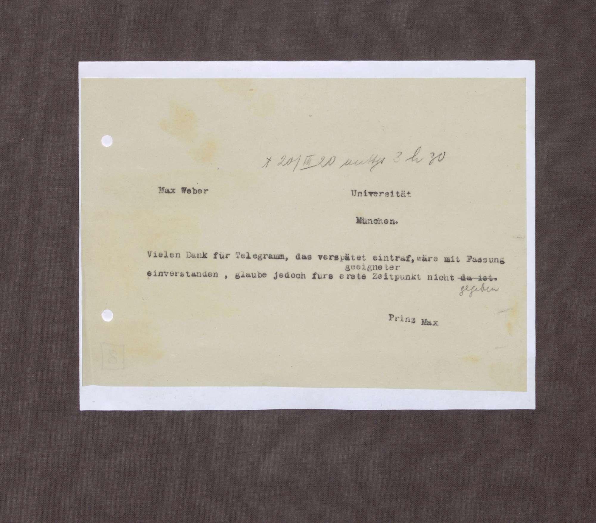 Nachricht von Prinz Max von Baden an Max Weber; Dank für ein Telegramm, Bild 1
