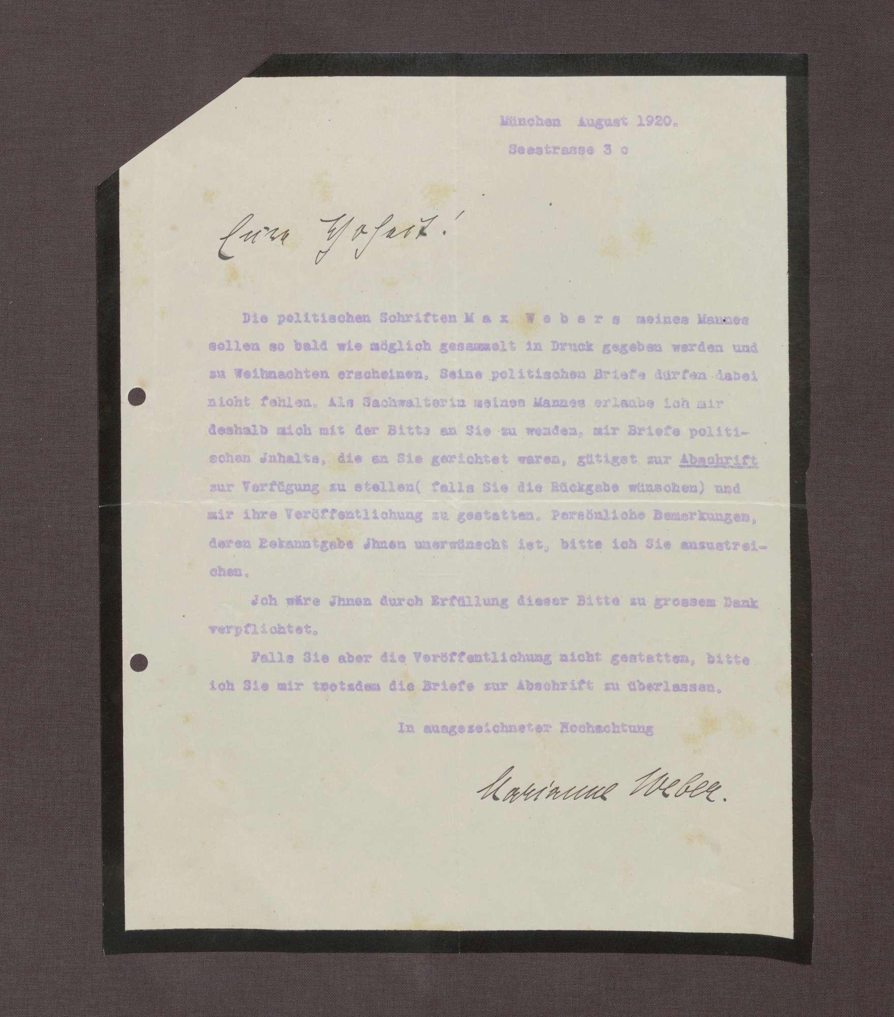 Schreiben von Marianne Weber an Prinz Max von Baden; Bitte um eine Abschrift der politischen Briefe zwecks einer Edition der politischen Schriften Max Webers, Bild 1