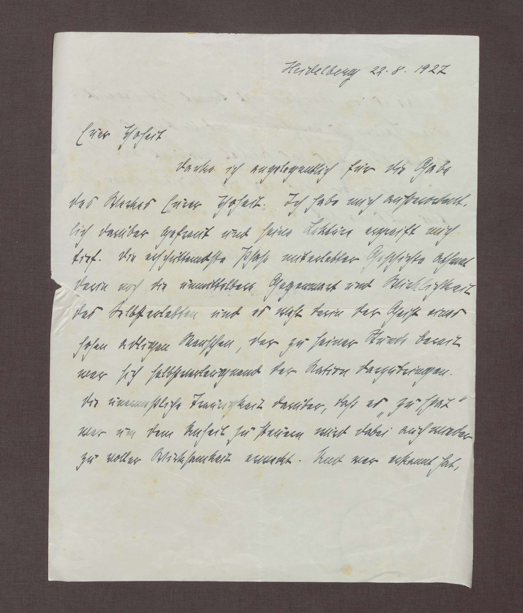 Schreiben von Marianne Weber an Prinz Max von Baden; Dank für die Zusendung der Memoiren des Prinzen Max, Bild 1