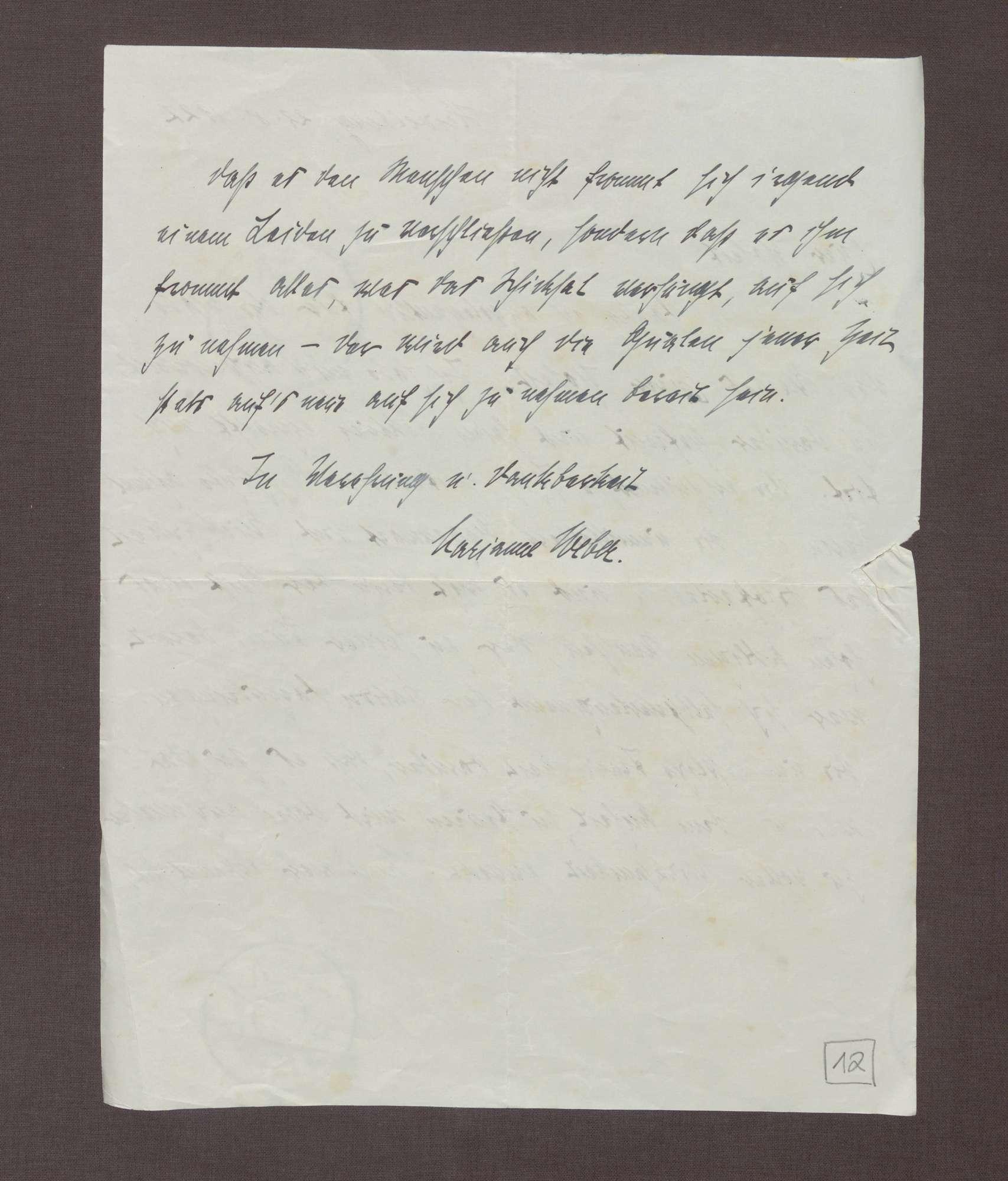 Schreiben von Marianne Weber an Prinz Max von Baden; Dank für die Zusendung der Memoiren des Prinzen Max, Bild 2