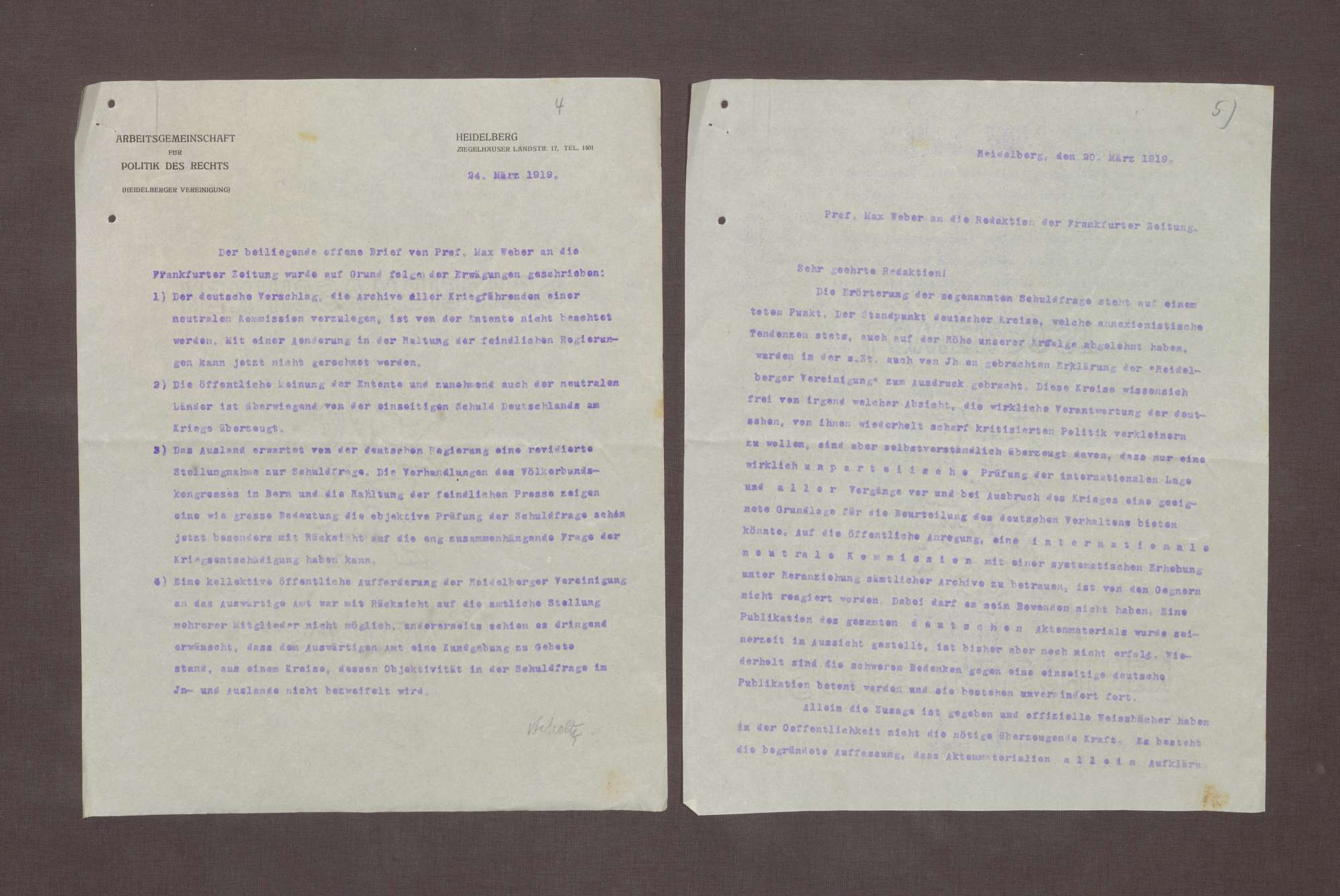 Abschrift eines Briefs von Max Weber an die Redation der Frankfurter Zeitung bzgl. der Kriegsschuld und der Öffnung der Archive der kriegführenden Nationen für eine neutrale Kommission, Bild 1
