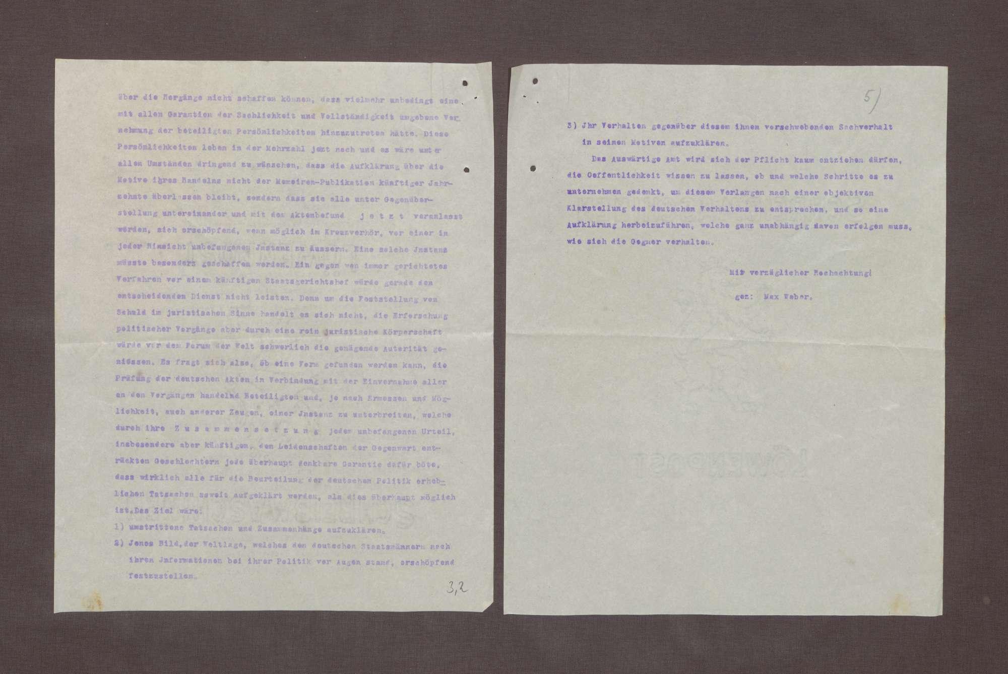 Abschrift eines Briefs von Max Weber an die Redation der Frankfurter Zeitung bzgl. der Kriegsschuld und der Öffnung der Archive der kriegführenden Nationen für eine neutrale Kommission, Bild 2