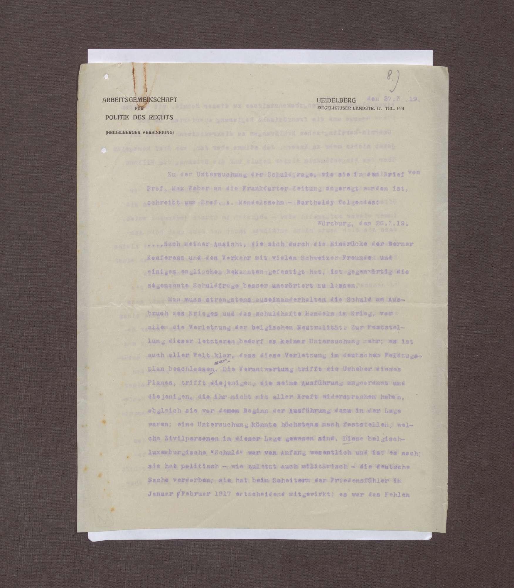 Schreiben von Albrecht Mendelssohn-Bartholdy bzgl. eines Briefs Max Webers an die Redaktion der Frankfurter Zeitung, Bild 1