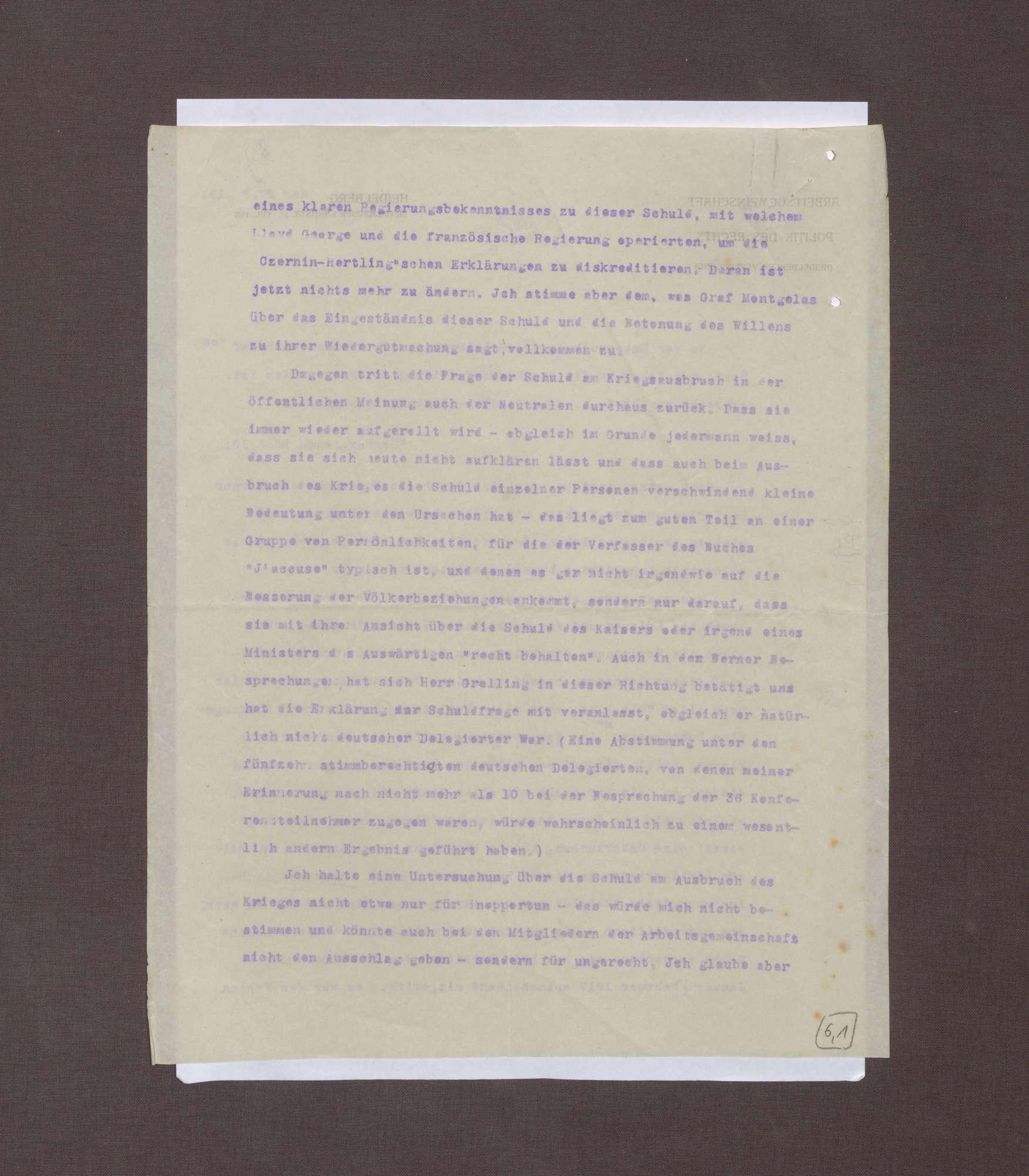 Schreiben von Albrecht Mendelssohn-Bartholdy bzgl. eines Briefs Max Webers an die Redaktion der Frankfurter Zeitung, Bild 2