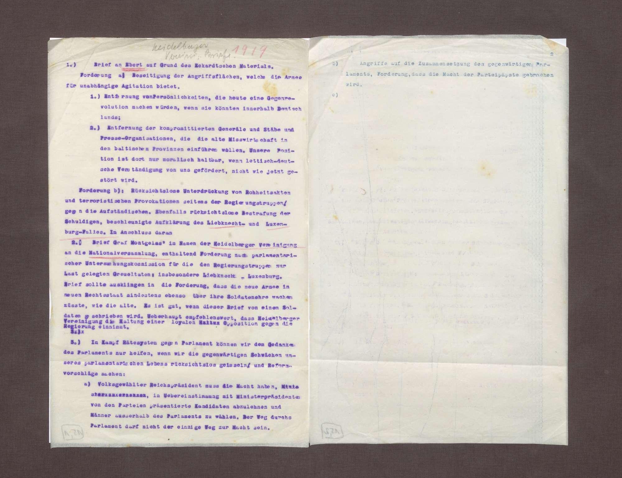 Brief an Friedrich Ebert mit spezifischen Forderungen der Heidelberger Vereinigung, die durch das Eckartsche Material erhoben wurden, Bild 1